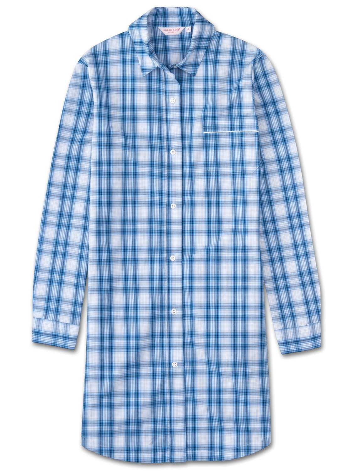 Women's Nightshirt Ranga 30 Cotton Check Blue