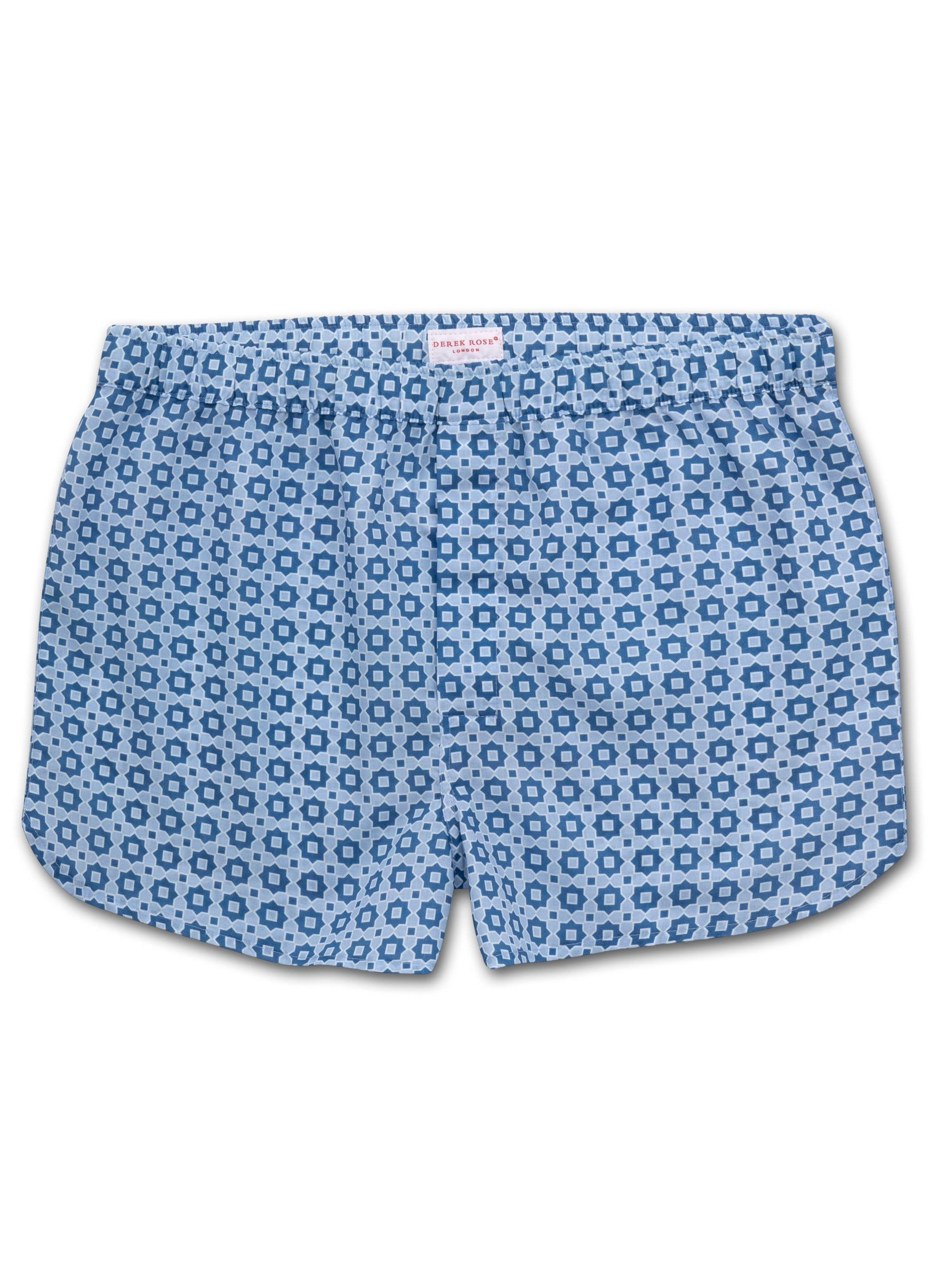 Men's Modern Fit Boxer Shorts Ledbury 34 Cotton Batiste Blue