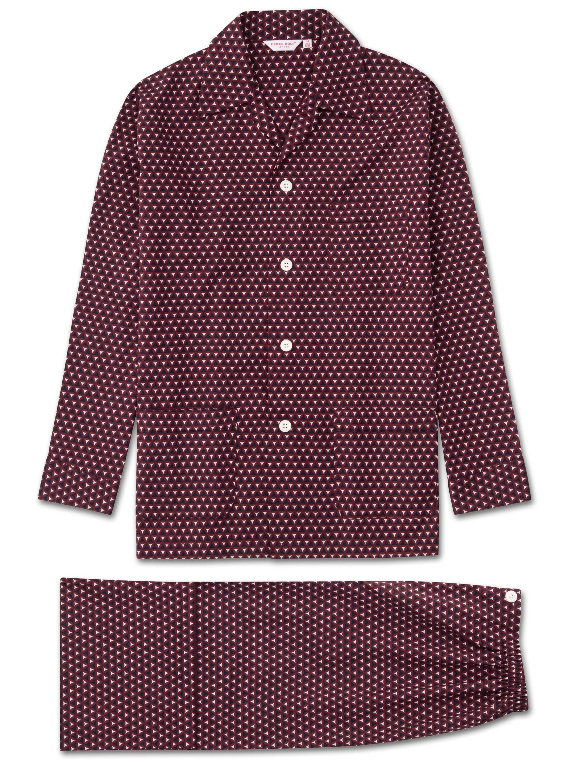 Men's Classic Fit Pyjamas Ledbury 26 Cotton Batiste Burgundy