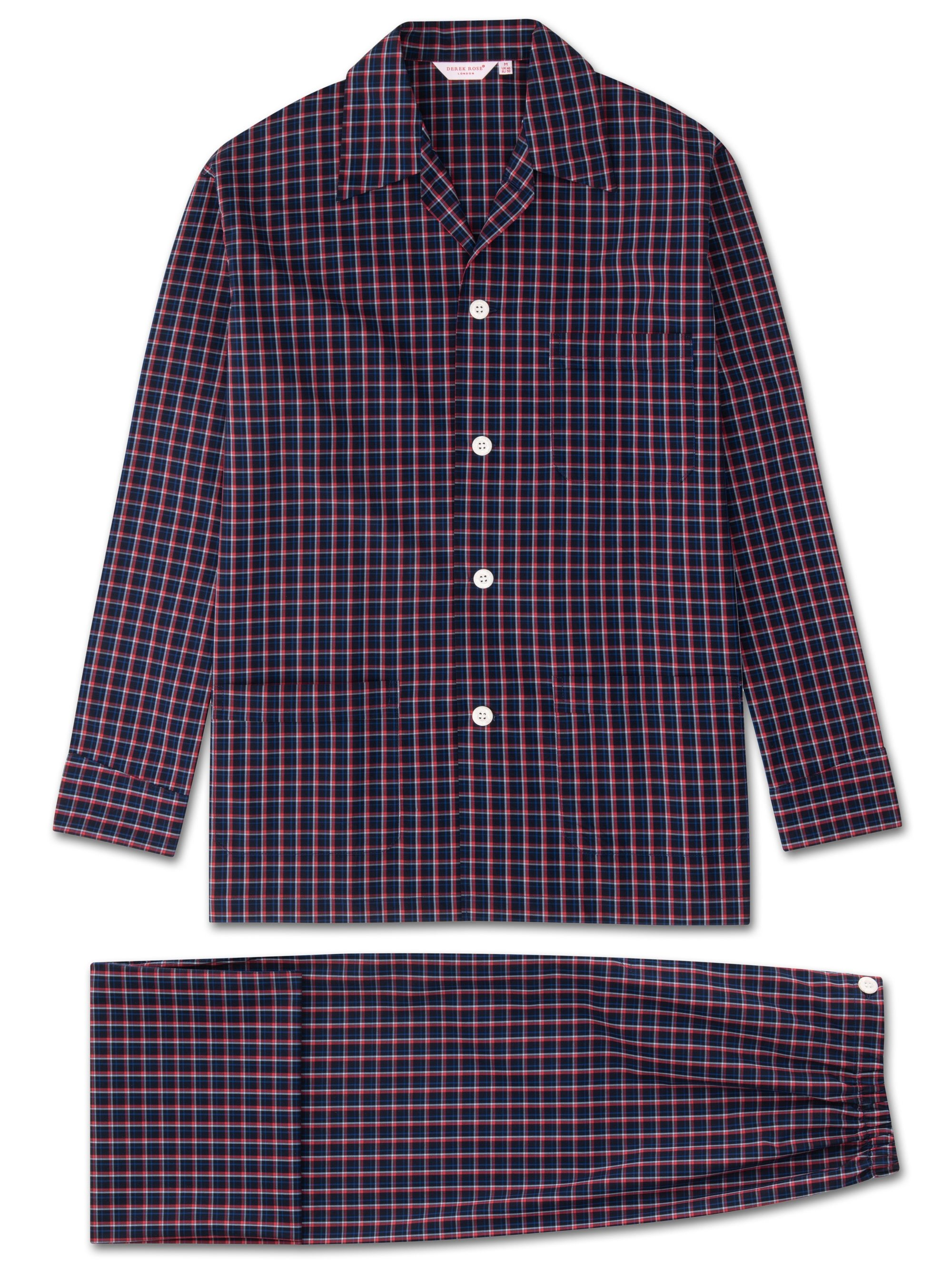 Men's Classic Fit Pyjamas Barker 22 Cotton Check Navy