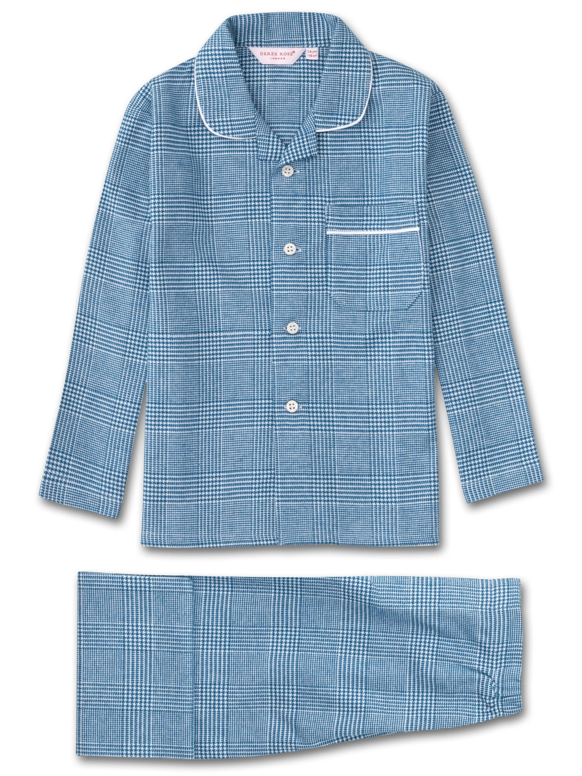 Kids' Pyjamas Kelburn 6 Brushed Cotton Check Ocean
