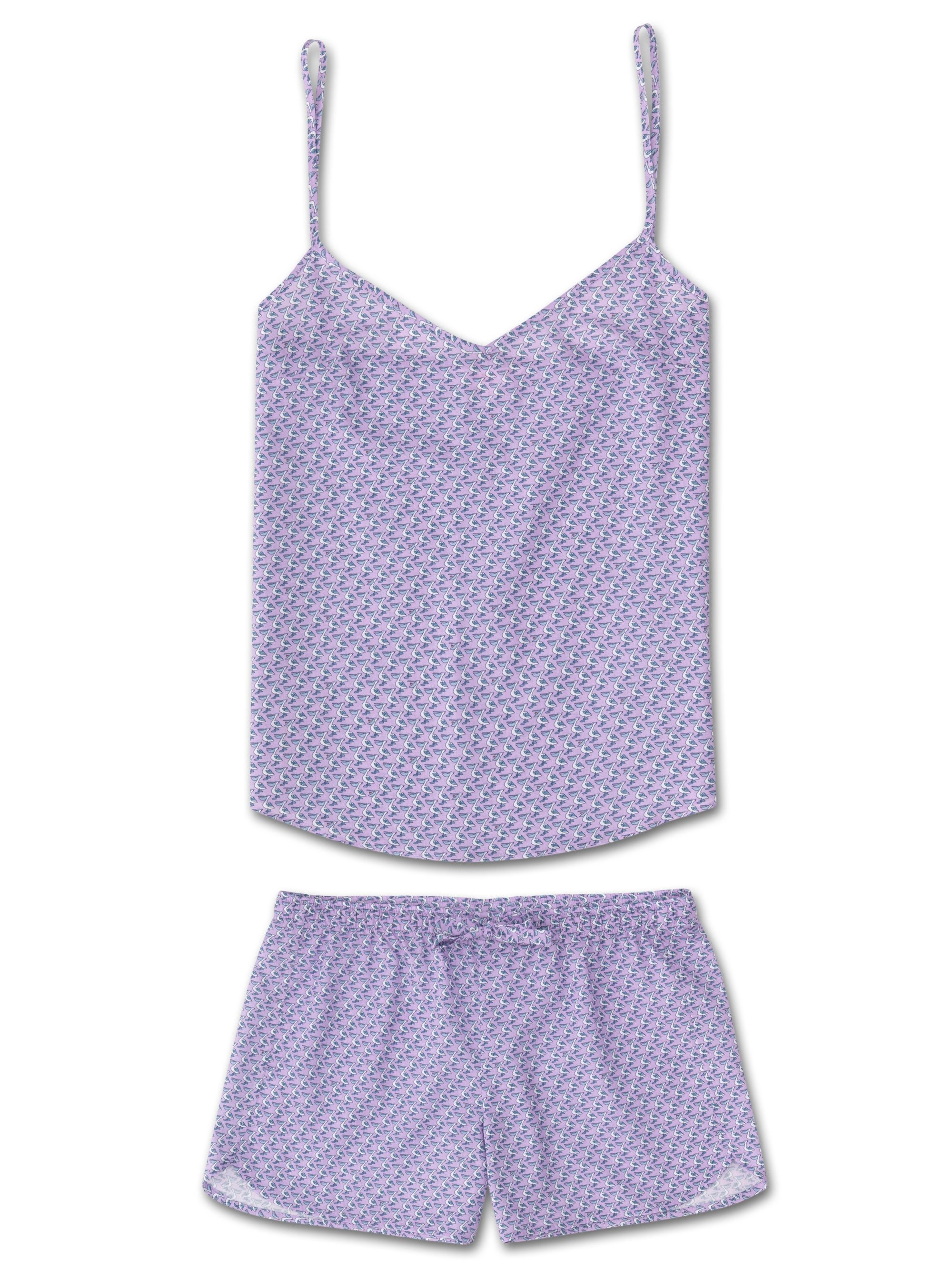 Women's Cami Short Pyjama Set Ledbury 16 Cotton Batiste Lilac