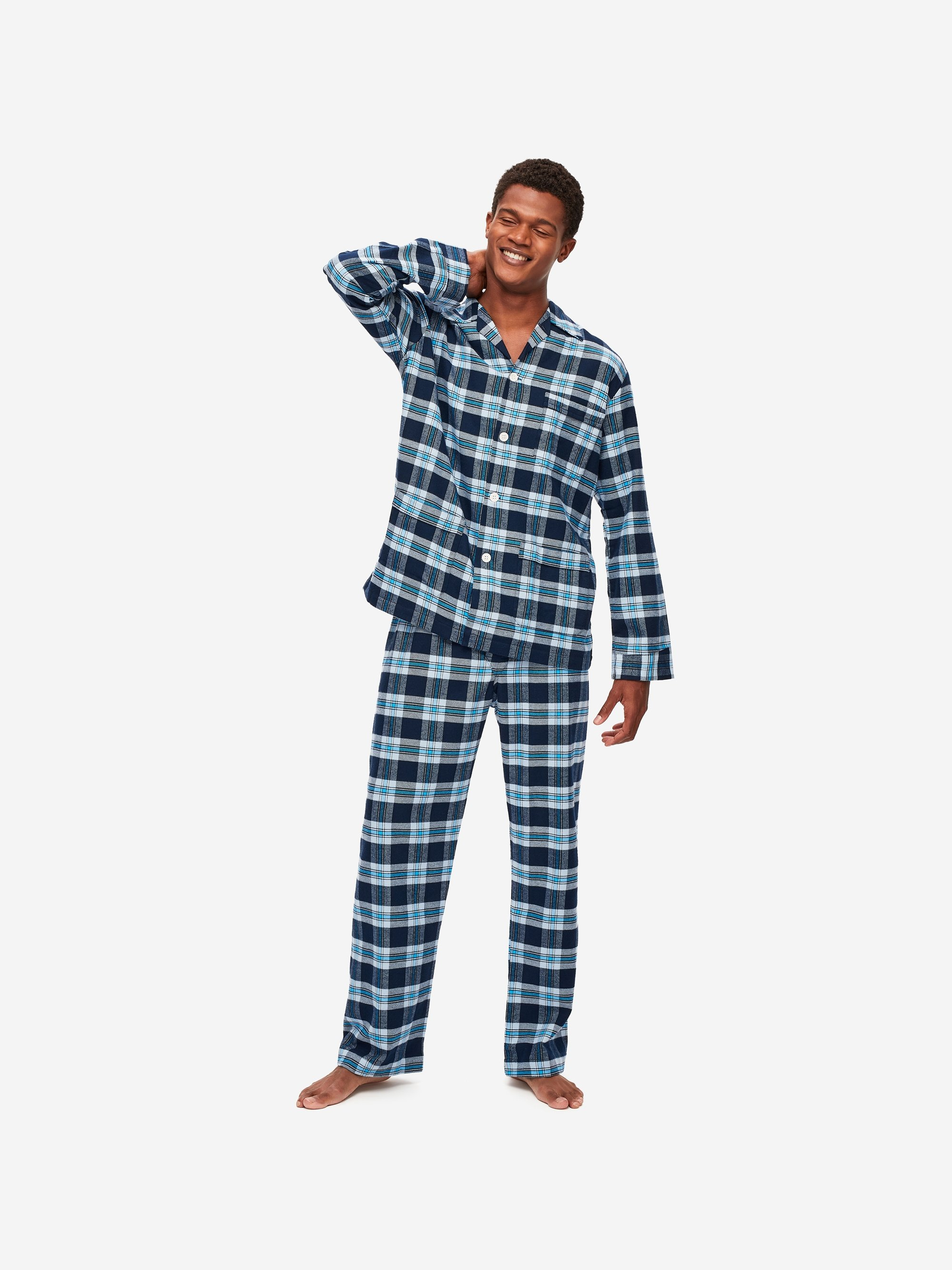 Men's Classic Fit Pyjamas Kelburn 14 Brushed Cotton Check Navy