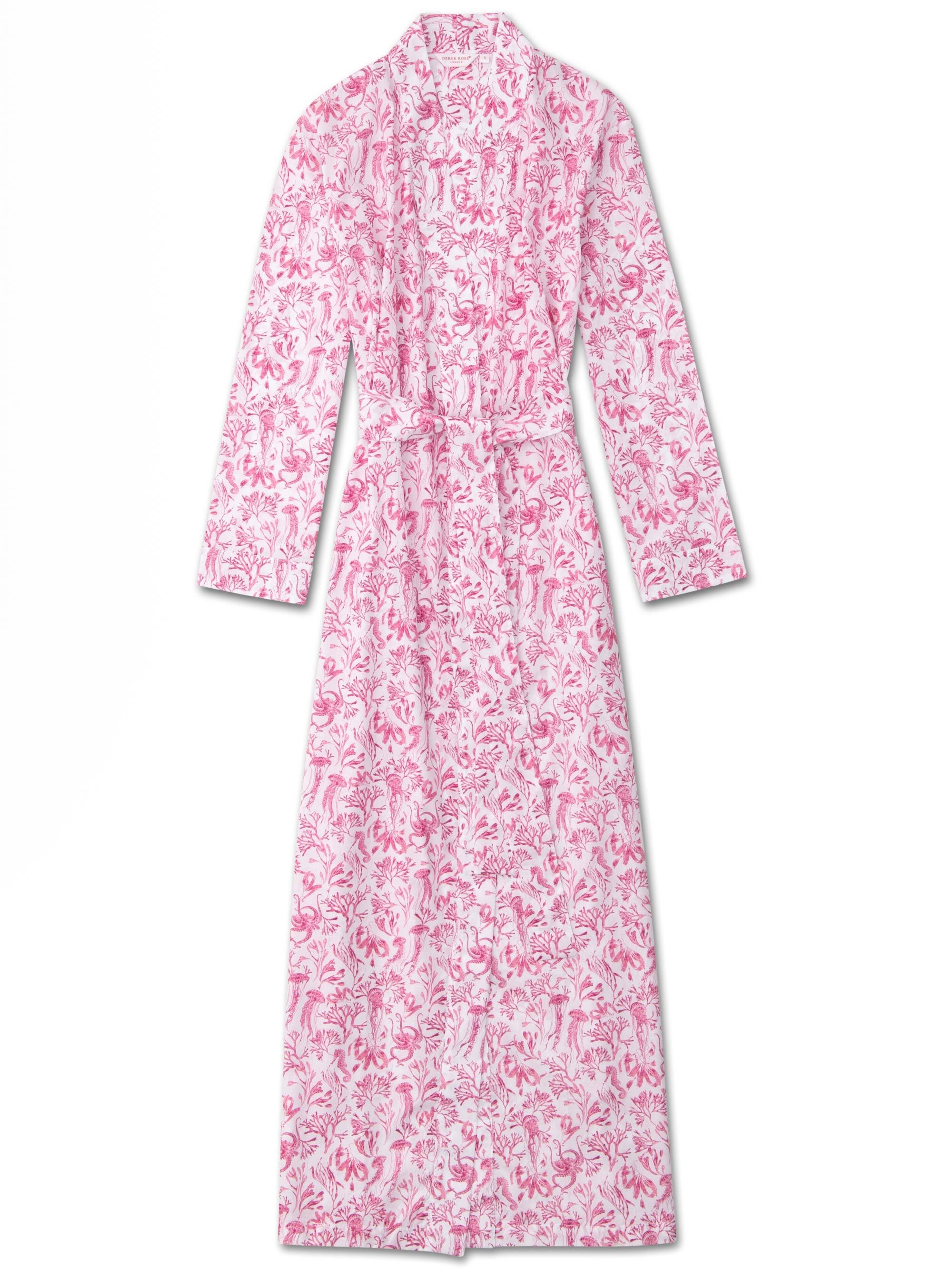 Women's Full Length Dressing Gown Ledbury 22 Cotton Batiste Pink