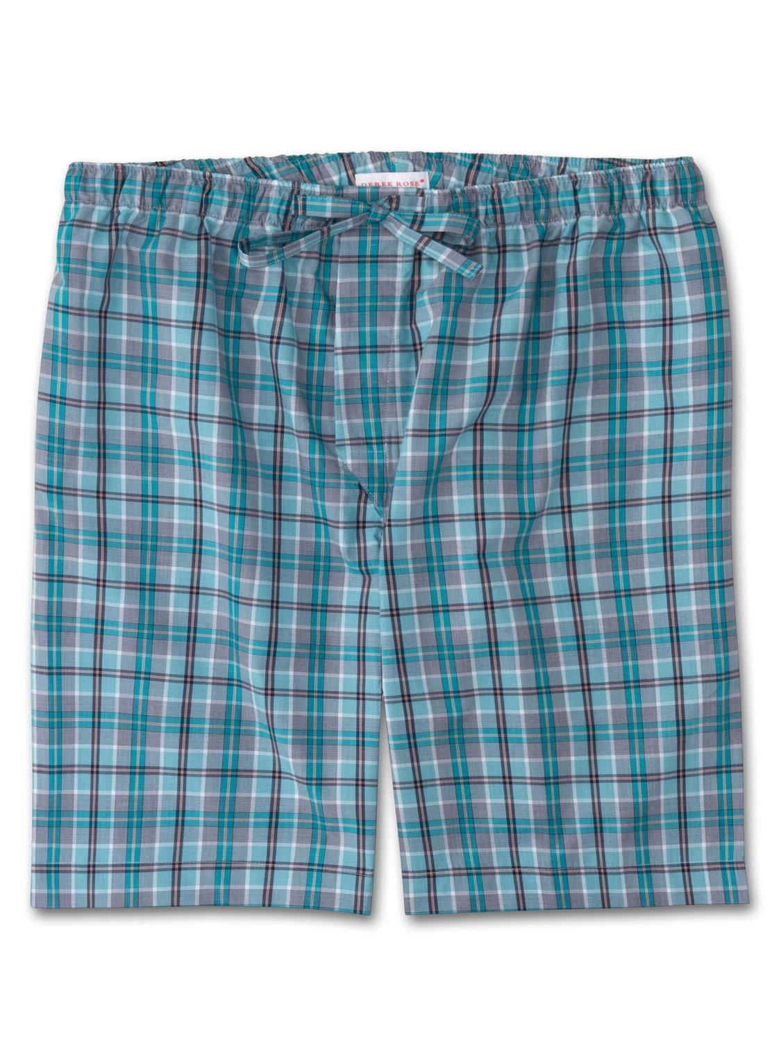 Men's Lounge Shorts Barker 18 Cotton Check Teal