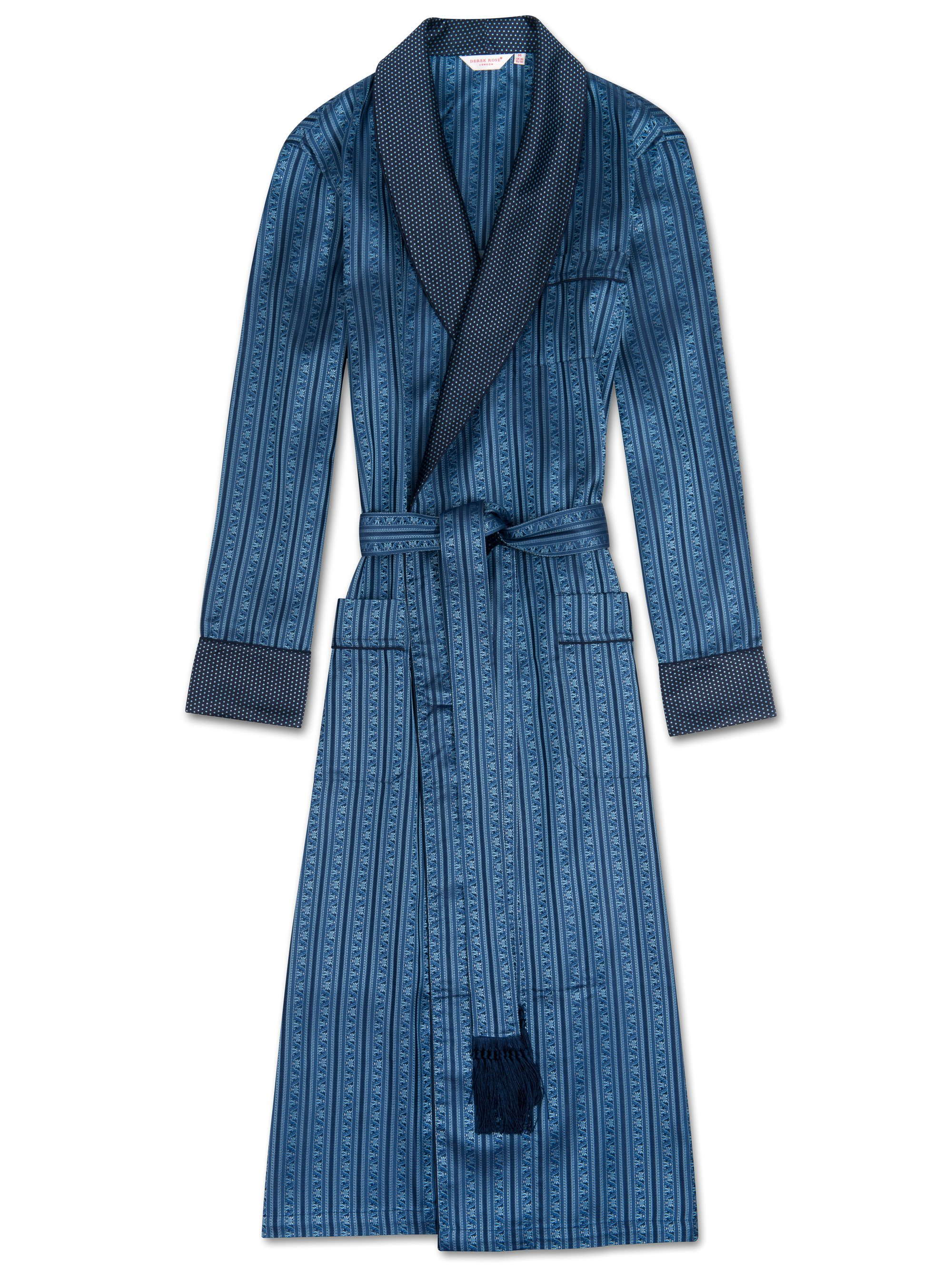 Men's Tasseled Belt Dressing Gown Verona 30 Pure Silk Blue