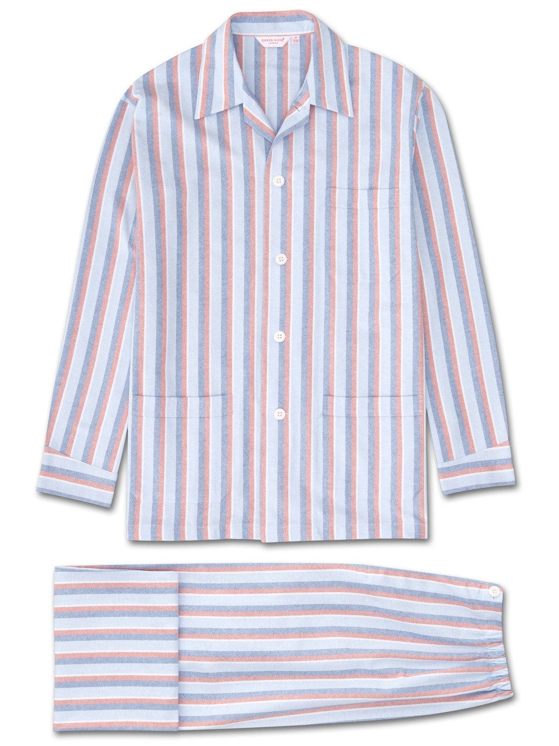 Men's Classic Fit Pyjamas Arran 87 Brushed Cotton Stripe Rust