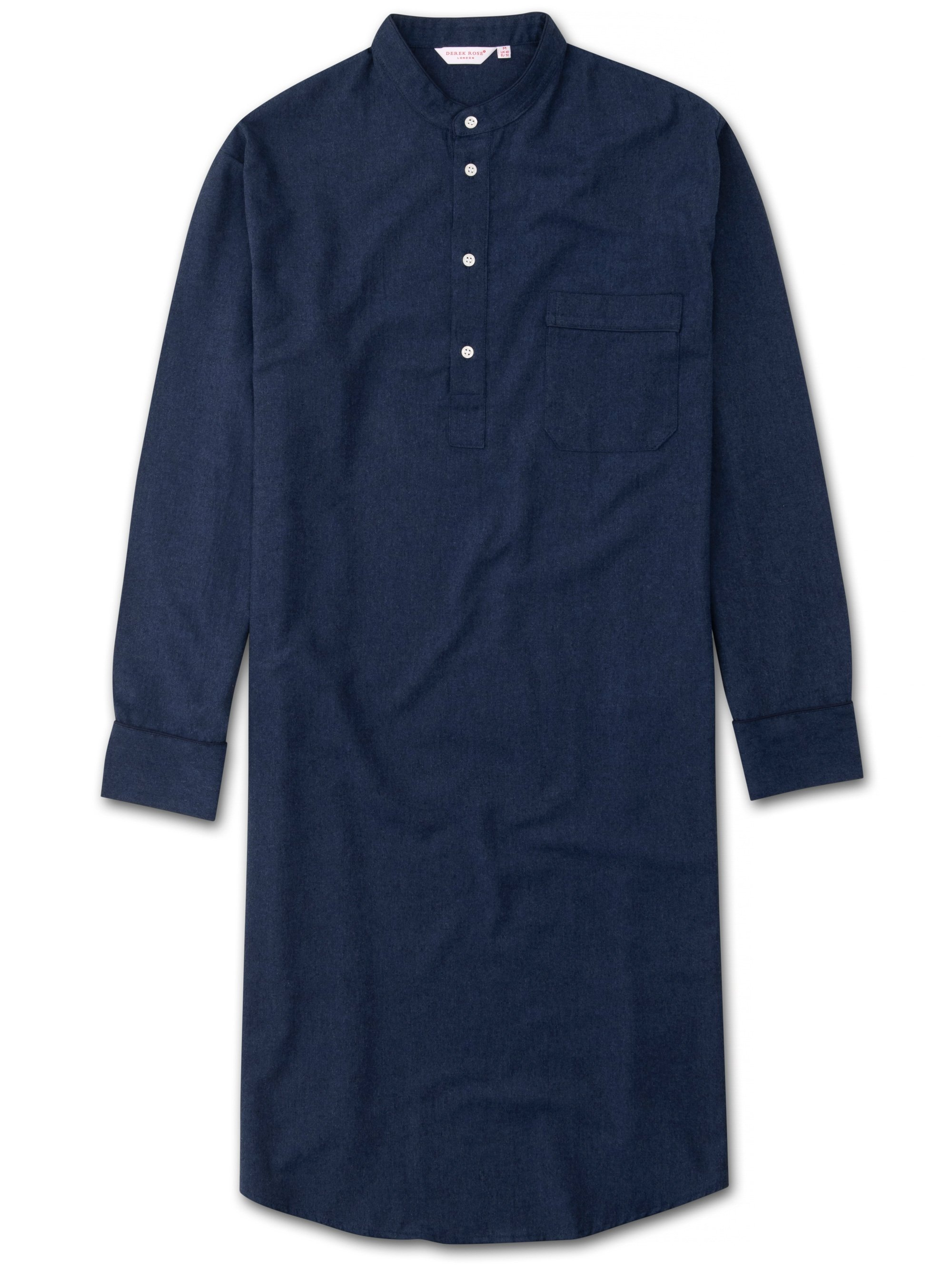 Men's Pullover Nightshirt Balmoral 3 Brushed Cotton Navy