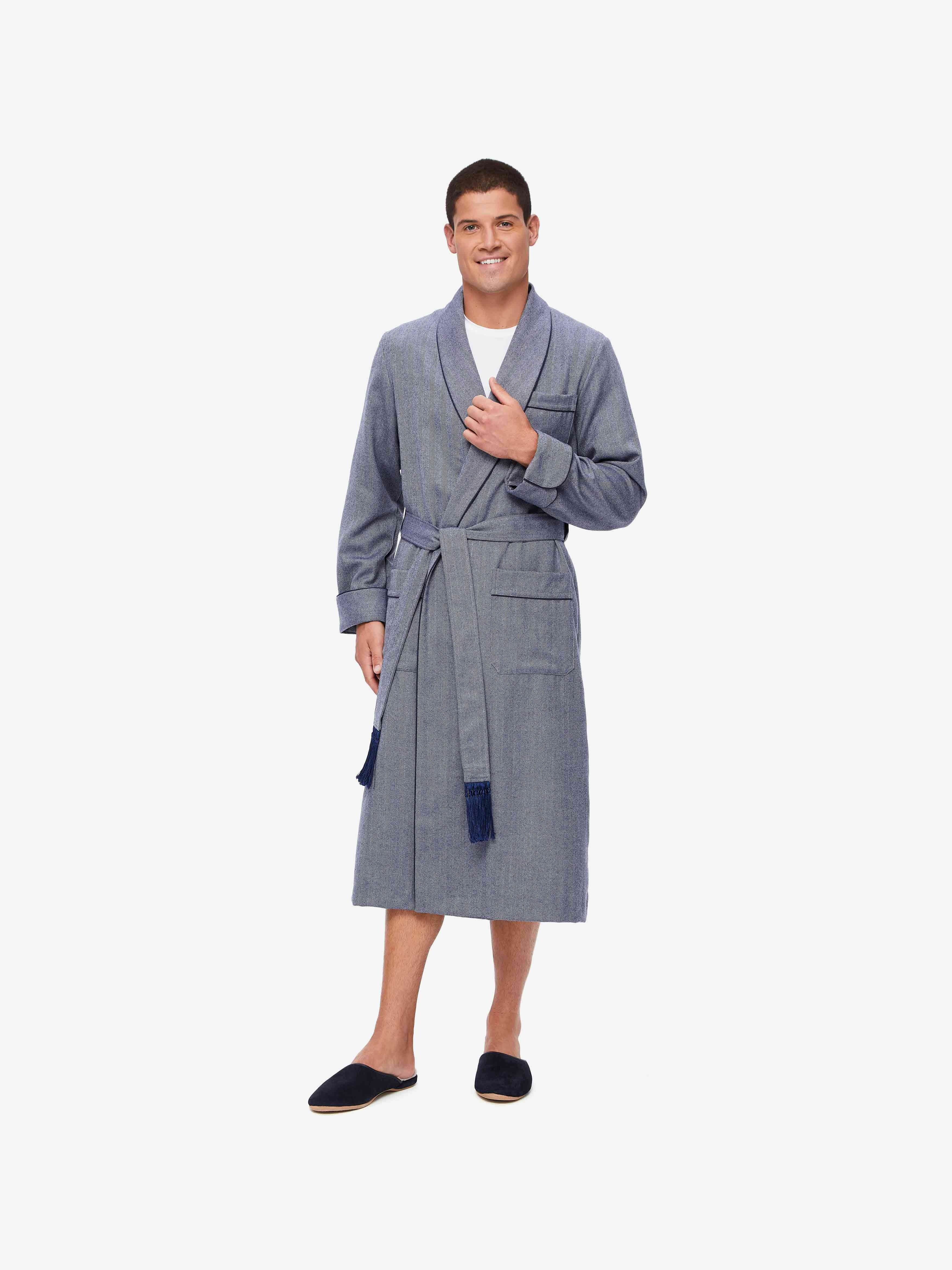 Men's Dressing Gown Lincoln 11 Wool Navy