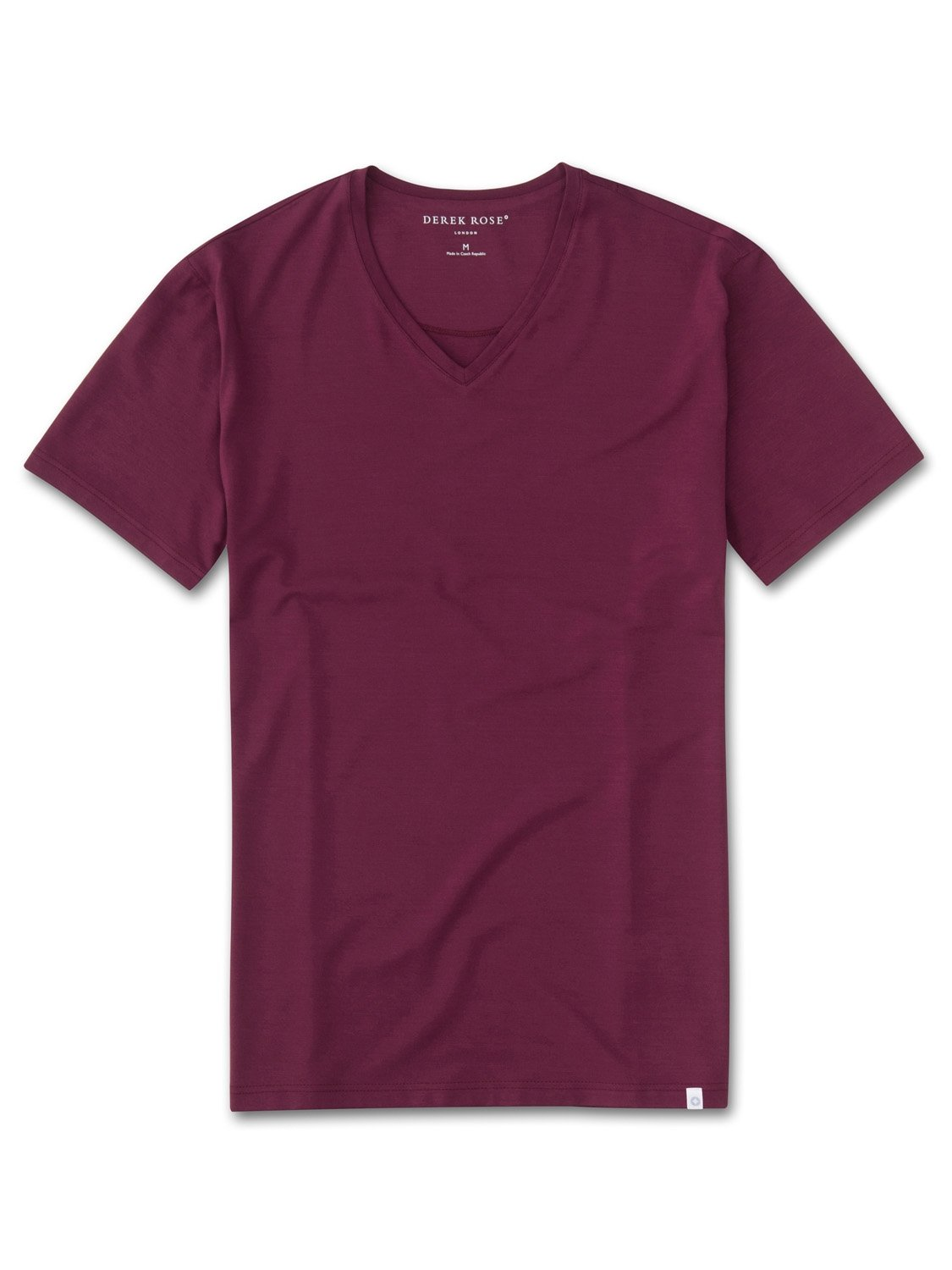 Men's Short Sleeve V-Neck T-Shirt Basel 5 Micro Modal Stretch Burgundy