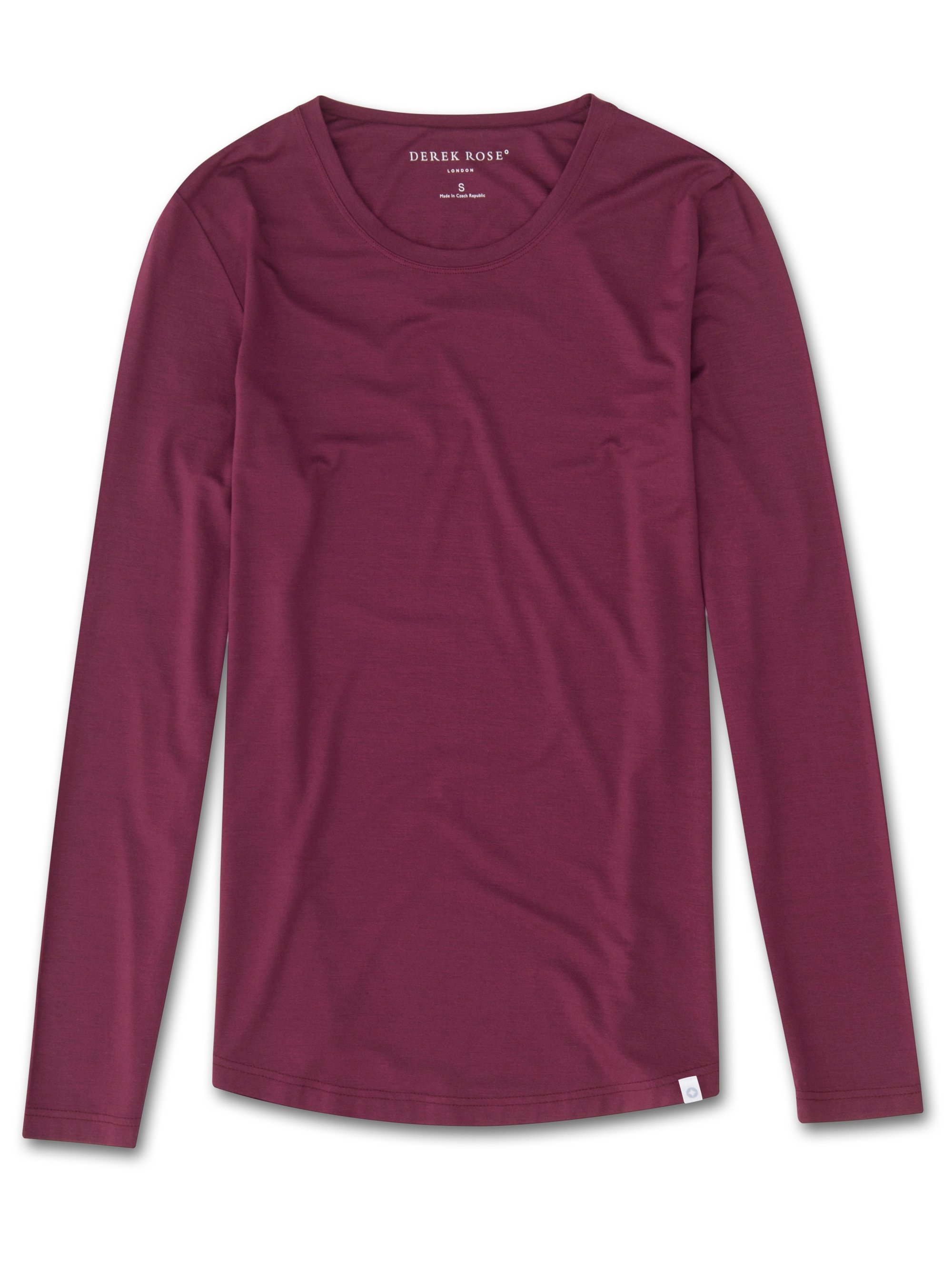 Women's Long Sleeve T-Shirt Carla 4 Micro Modal Stretch Burgundy