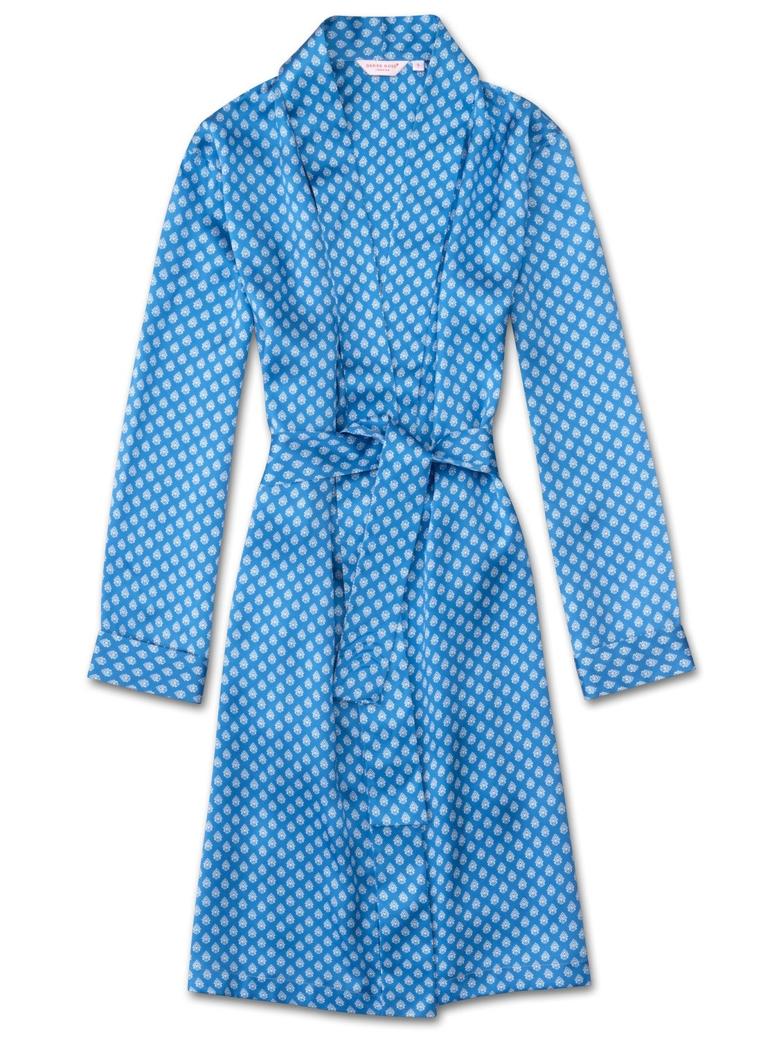 Women's Dressing Gown Brindisi 20 Pure Silk Satin Blue