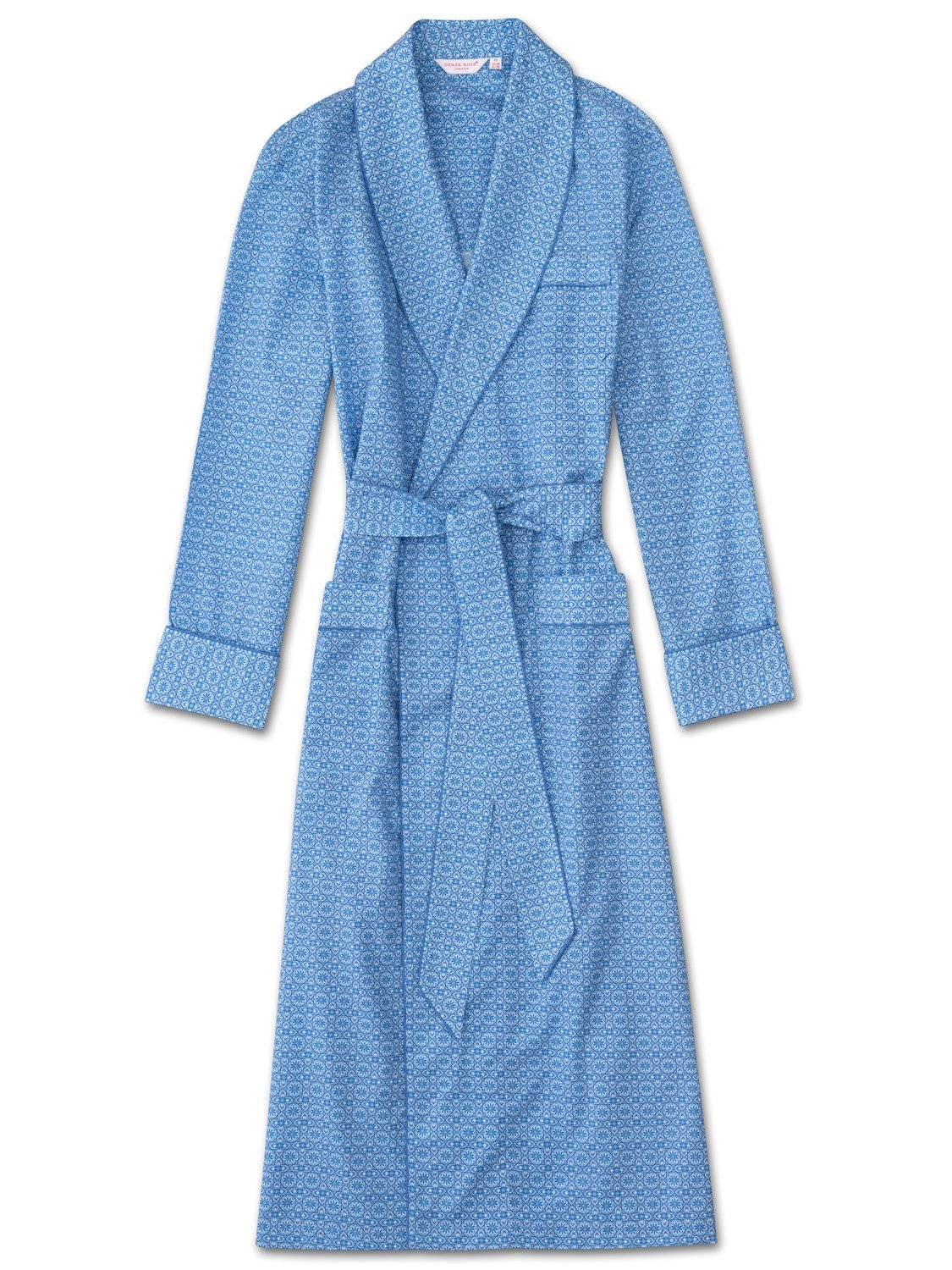 Men's Piped Dressing Gown Ledbury 5 Cotton Batiste Blue