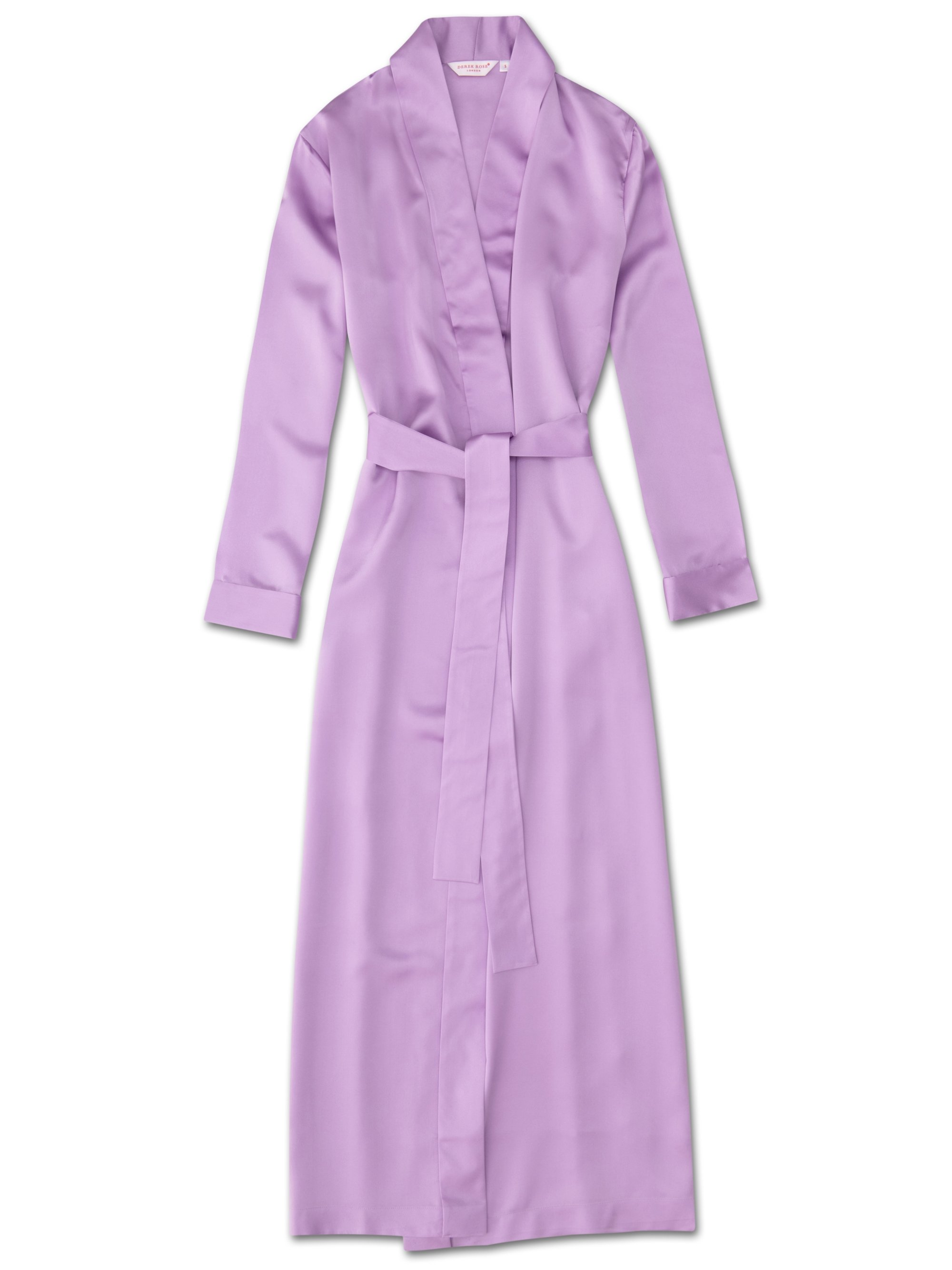 Women's Full Length Dressing Gown Bailey Pure Silk Satin Lilac
