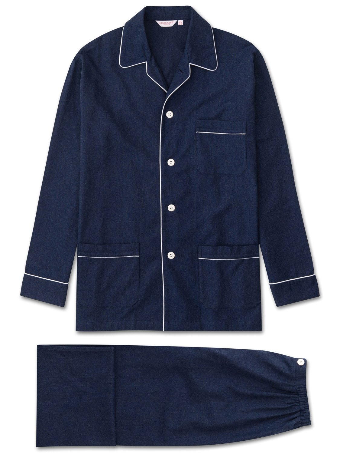 Men's Classic Fit Piped Pyjamas Balmoral 3 Brushed Cotton Navy