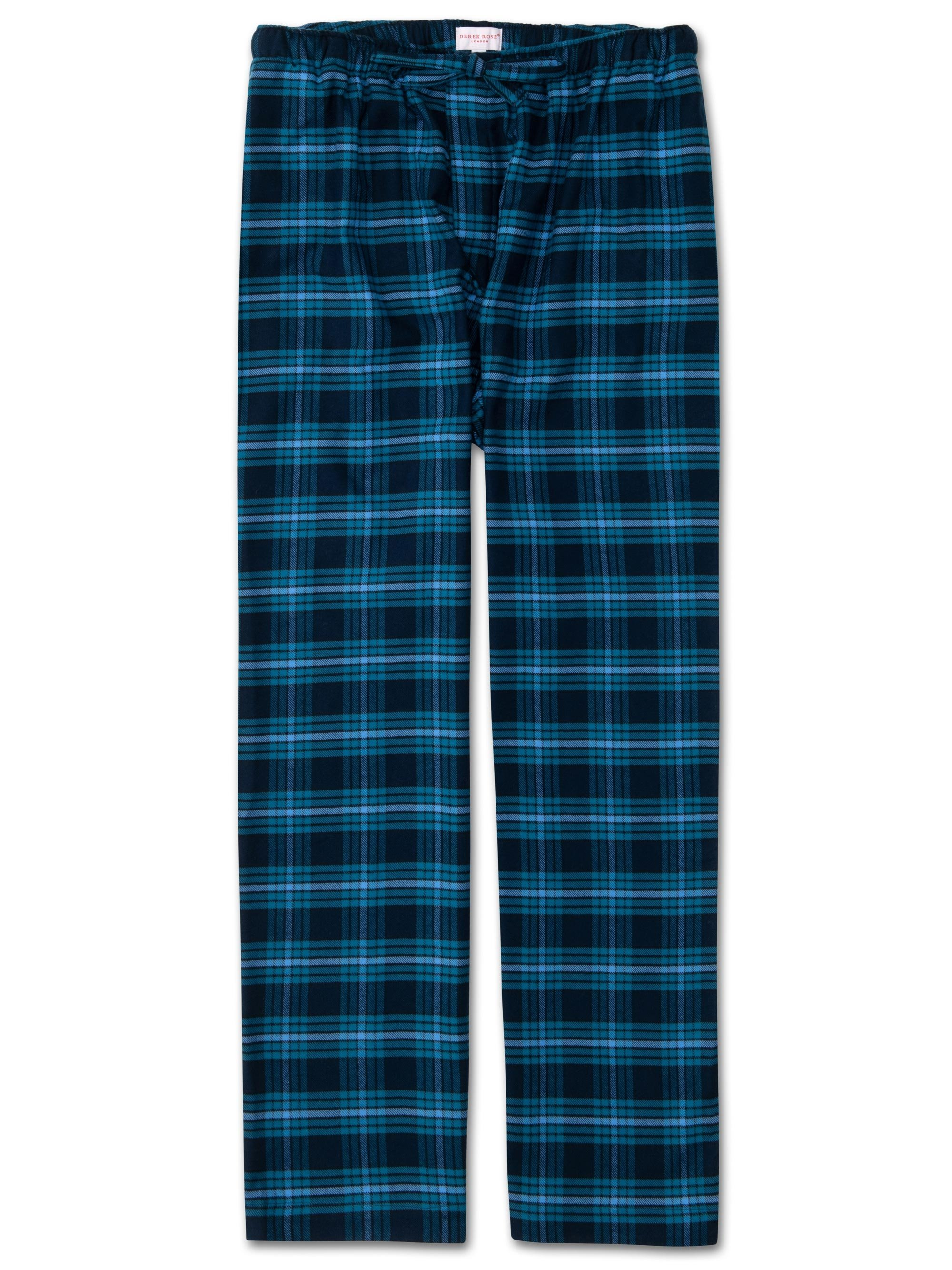 Men's Lounge Trousers Kelburn 8 Brushed Cotton Check Navy