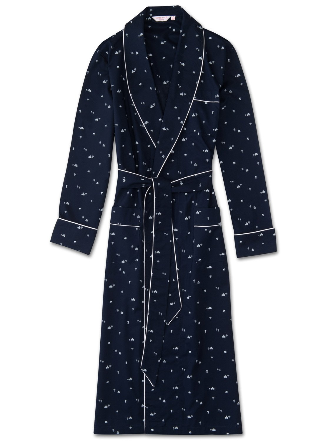 Men's Piped Dressing Gown Nelson 62 Cotton Batiste Navy