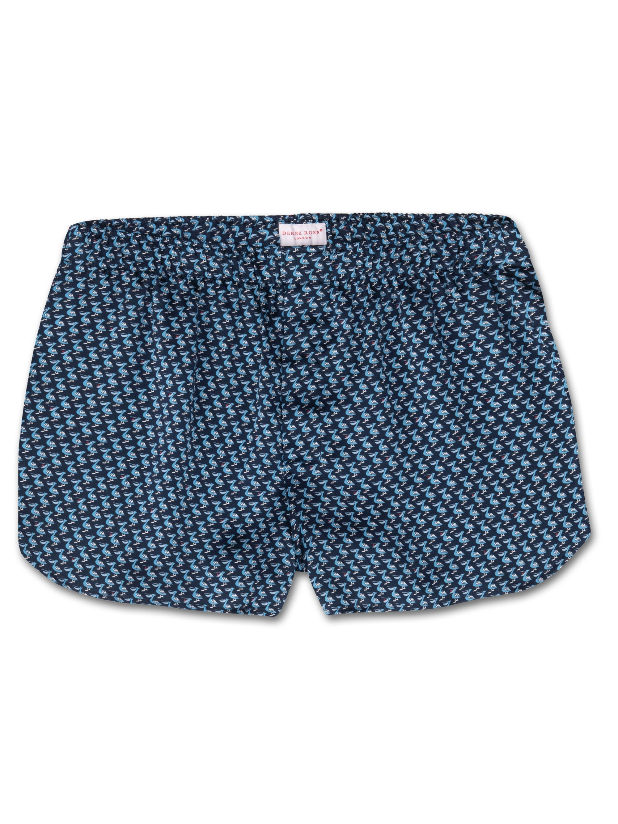 Men's Modern Fit Boxer Shorts Brindisi 32 Pure Silk Satin Navy