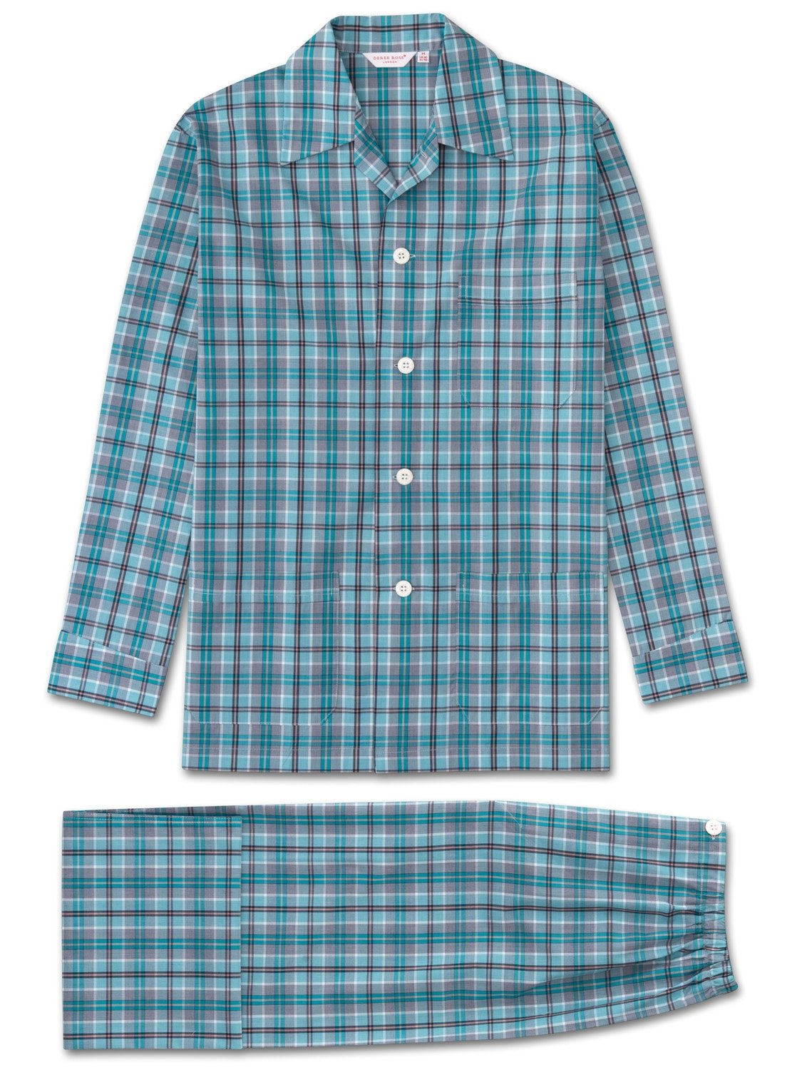Men's Classic Fit Pyjamas Barker 18 Cotton Check Teal