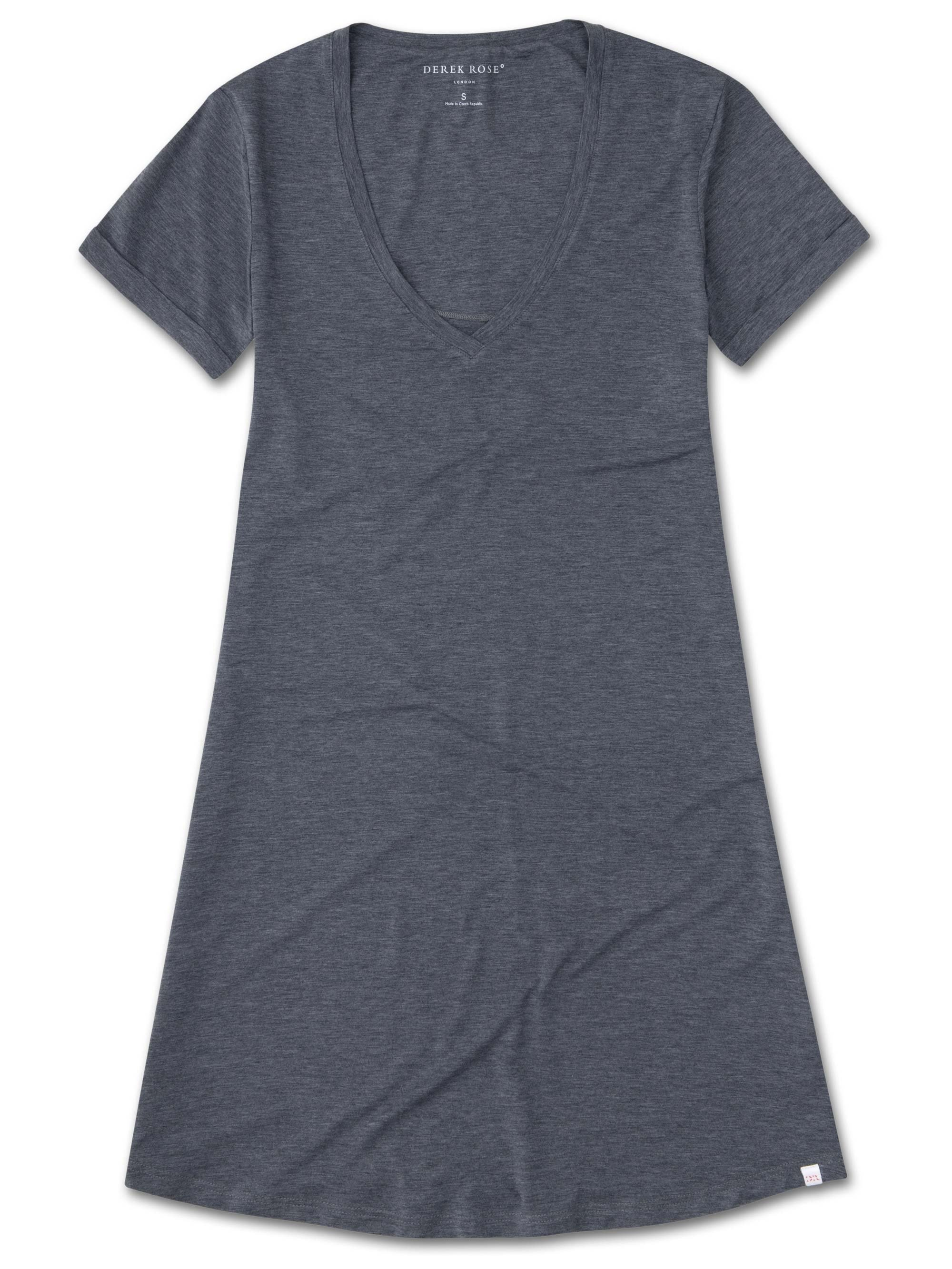 Women's V-Neck Sleep T-Shirt Ethan 2 Micro Modal Stretch Charcoal