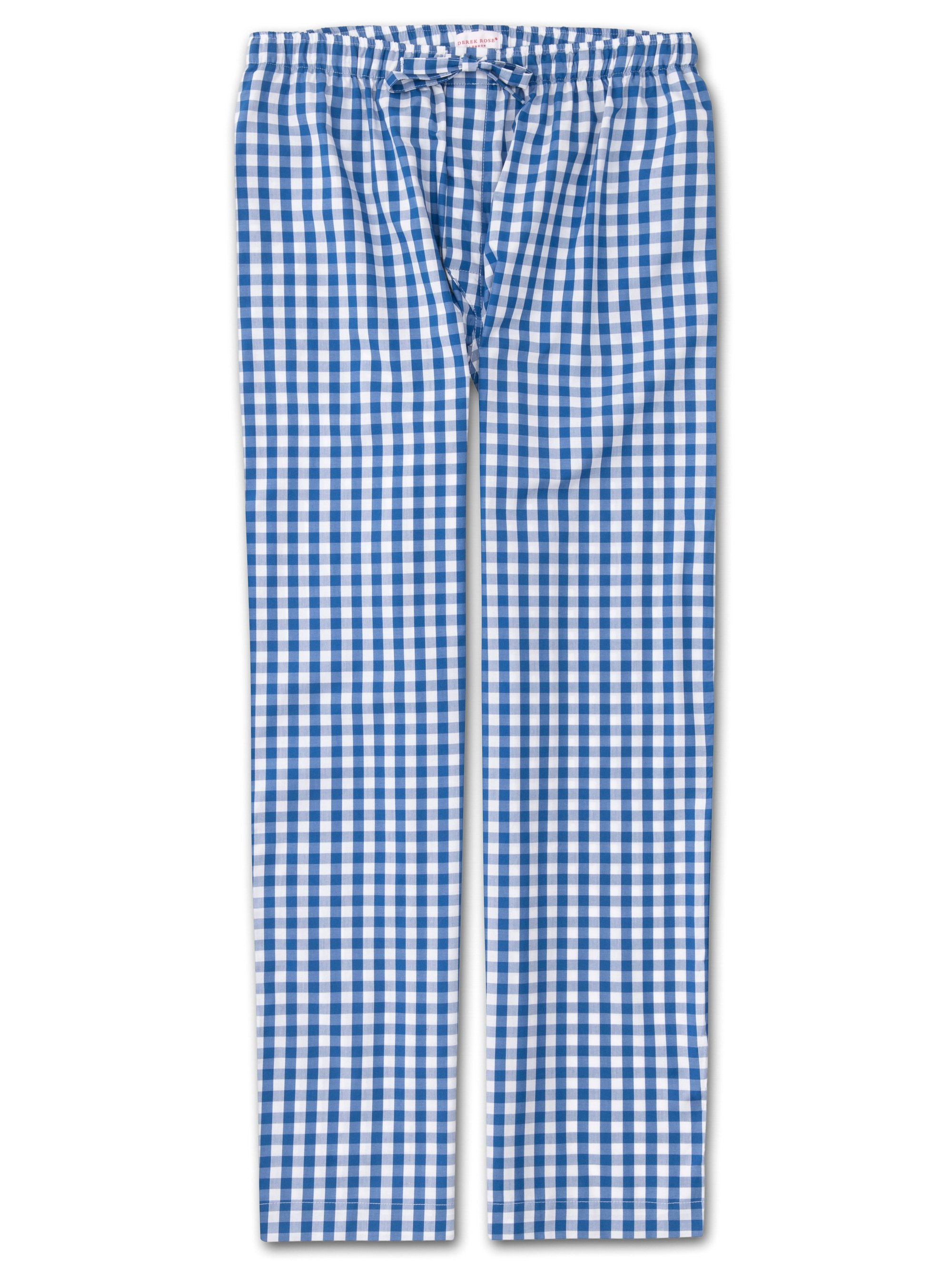 Men's Lounge Trousers Barker 26 Cotton Check Blue