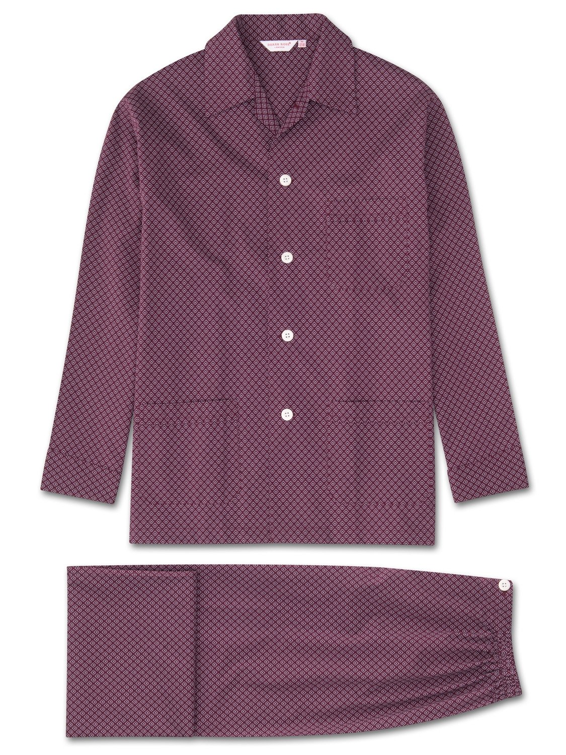 Men's Classic Fit Pyjamas Nelson 66 Cotton Batiste Burgundy