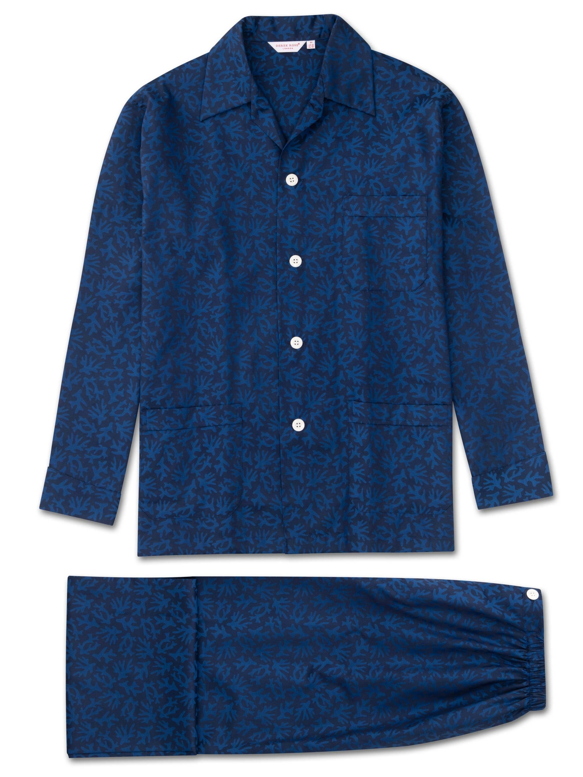 Men's Classic Fit Pyjamas Paris 16 Cotton Jacquard Navy