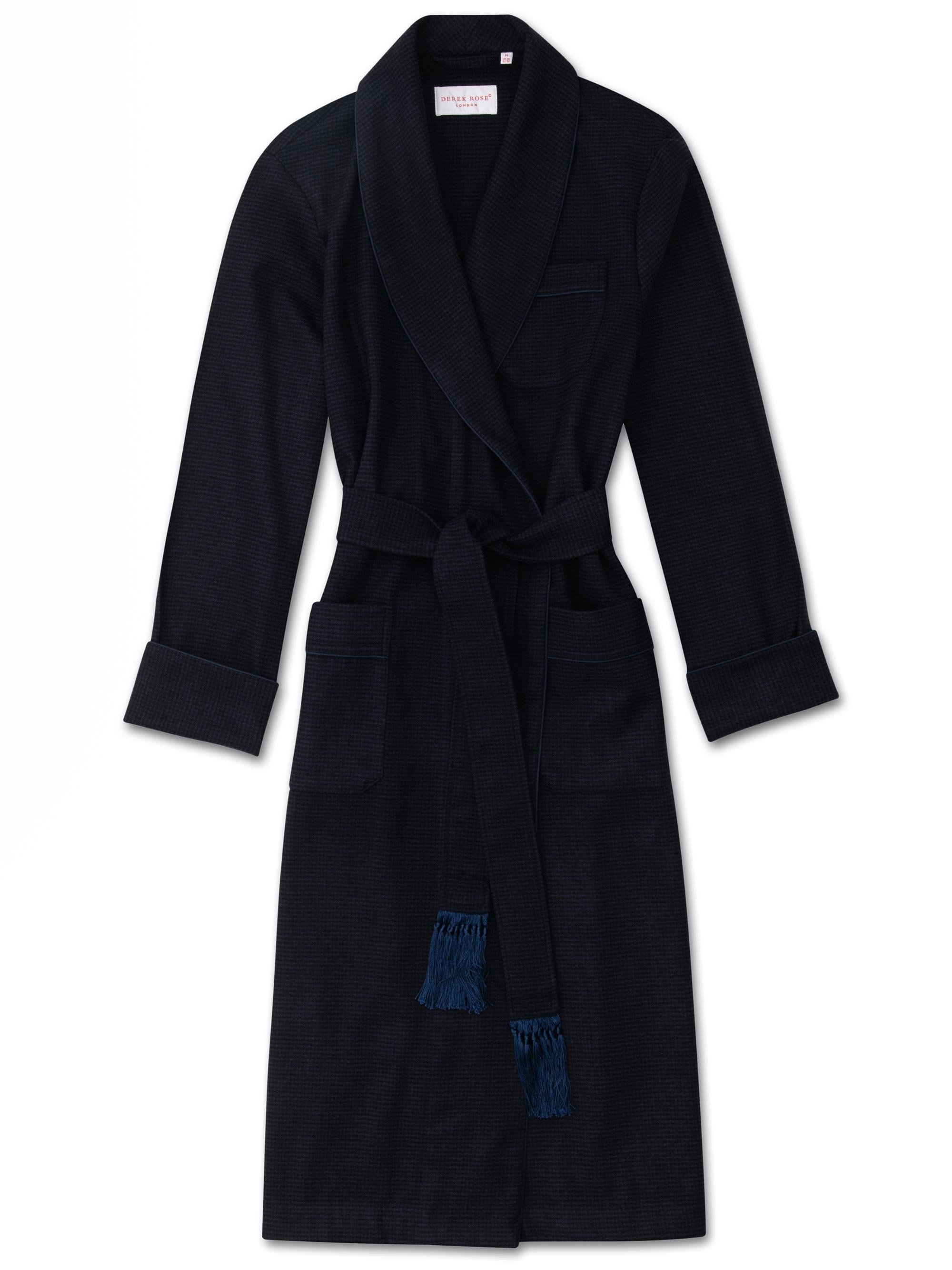 Men's Tasseled Belt Dressing Gown Chiltern Merino Cashmere Check Navy
