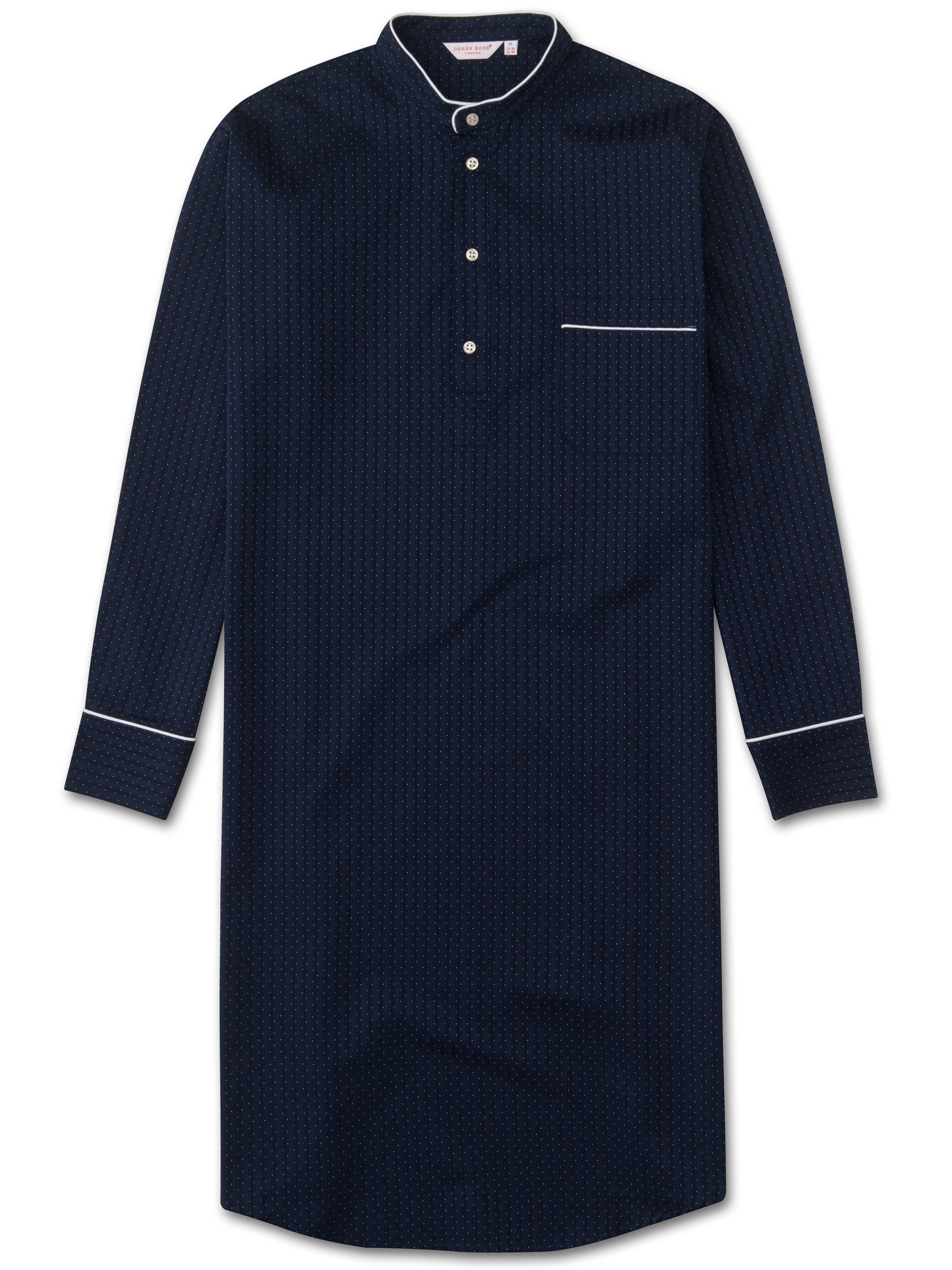 Men's Pullover Nightshirt Royal 40 Cotton Satin Stripe Polka Dot Navy