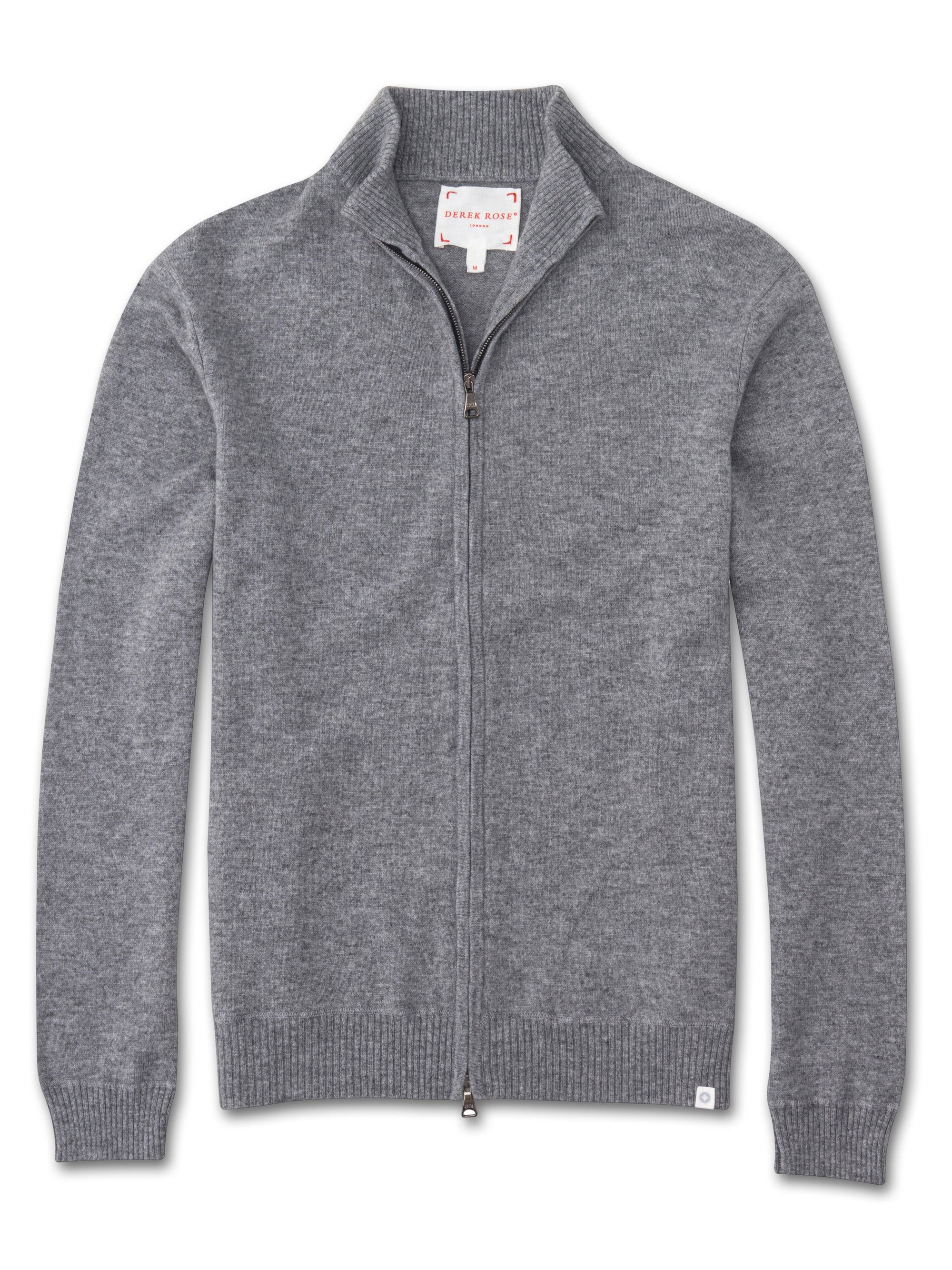 Men's Cashmere Zip-Up Top Finley Pure Cashmere Silver