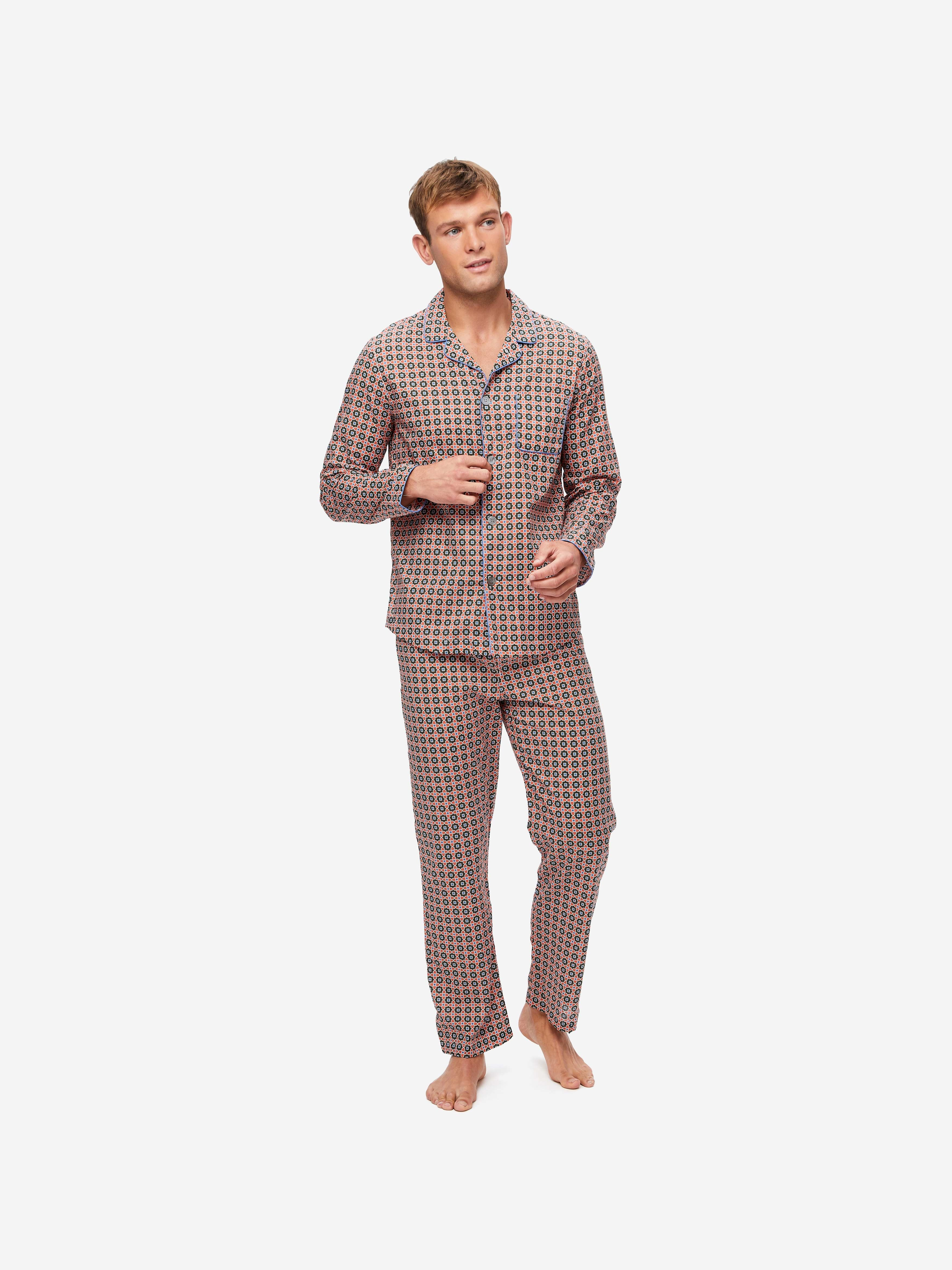 Men's Modern Fit Pyjamas Ledbury 34 Cotton Batiste Multi