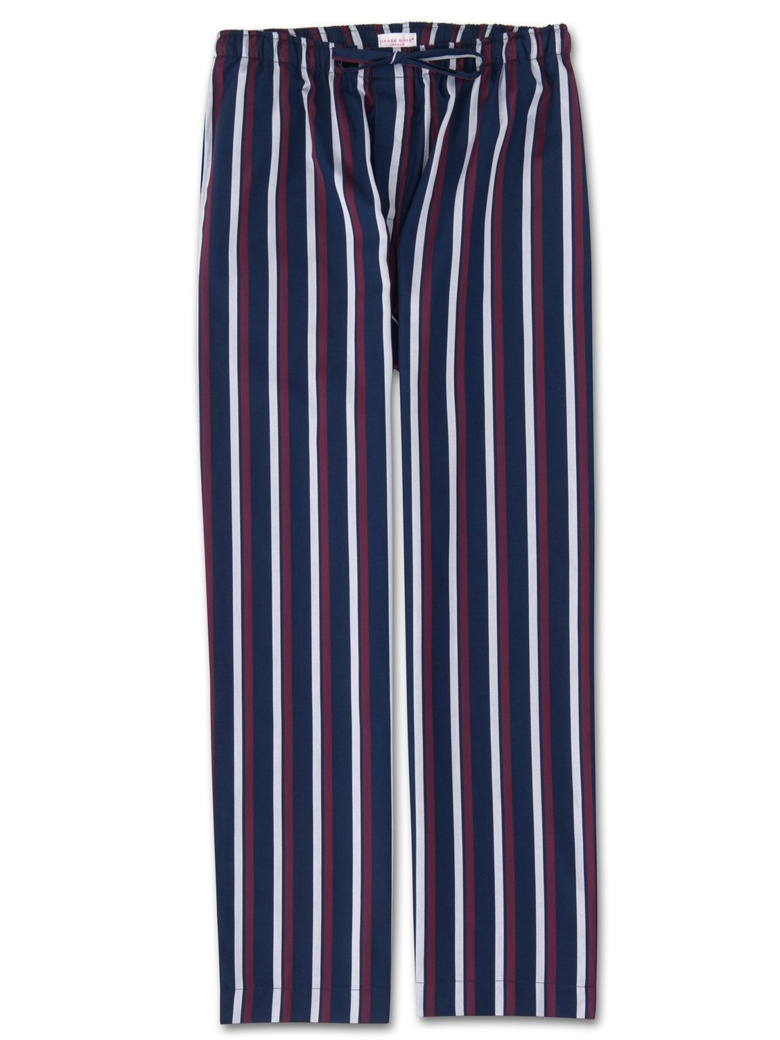 Men's Lounge Trousers Royal 210 Cotton Satin Stripe Navy