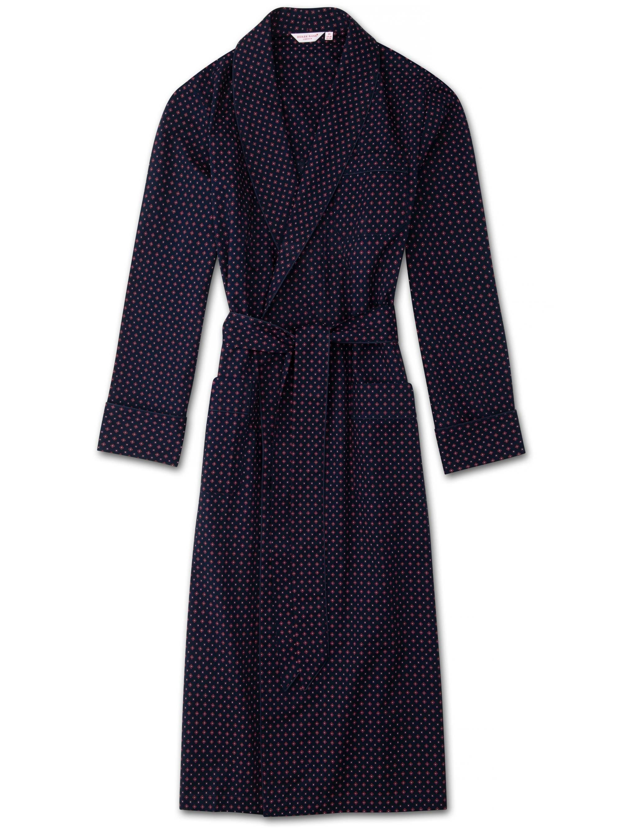 Men's Piped Dressing Gown Nelson 72 Cotton Batiste Navy