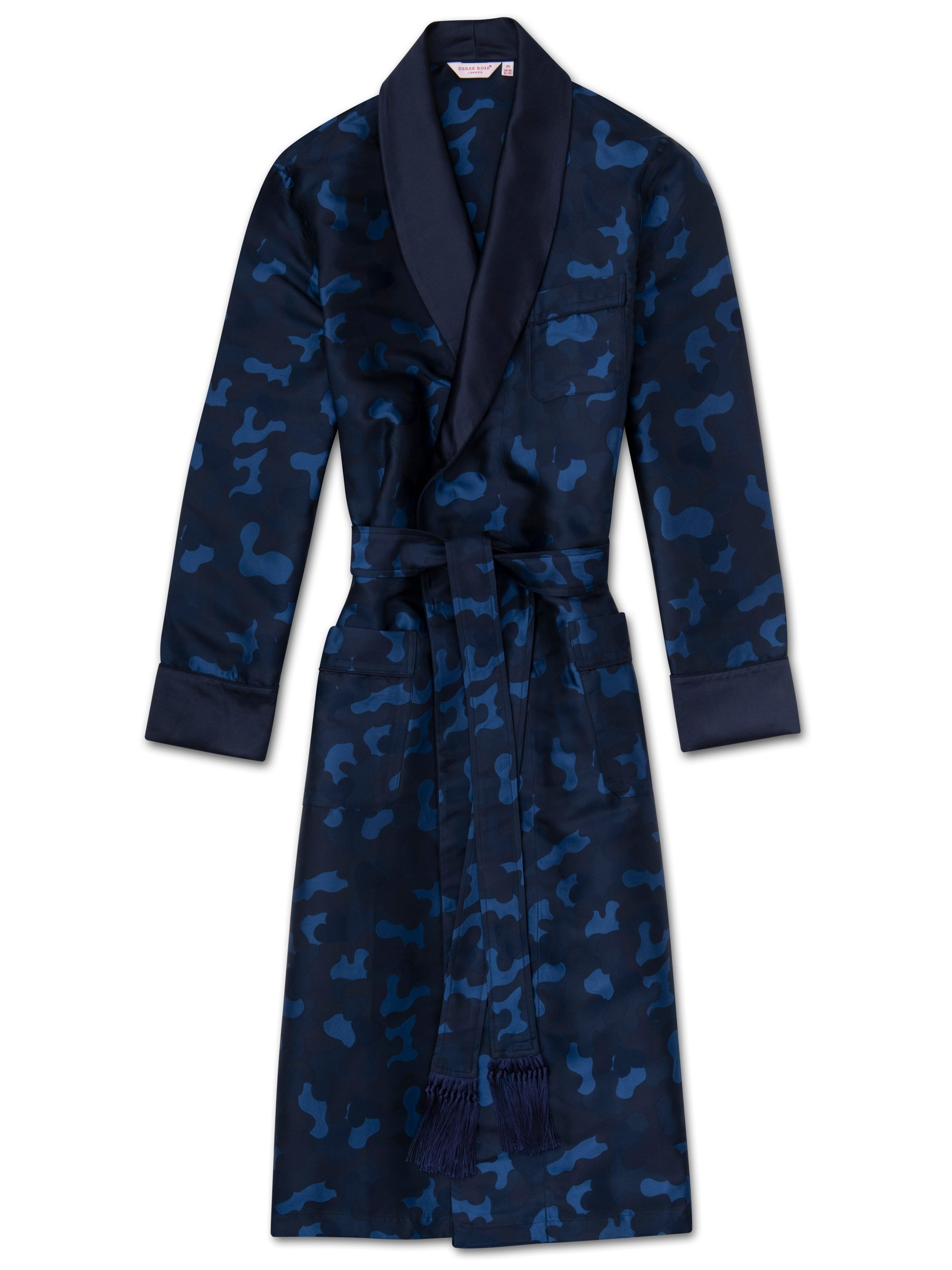 Men's Tasseled Belt Dressing Gown Verona 51 Pure Silk Jacquard Navy