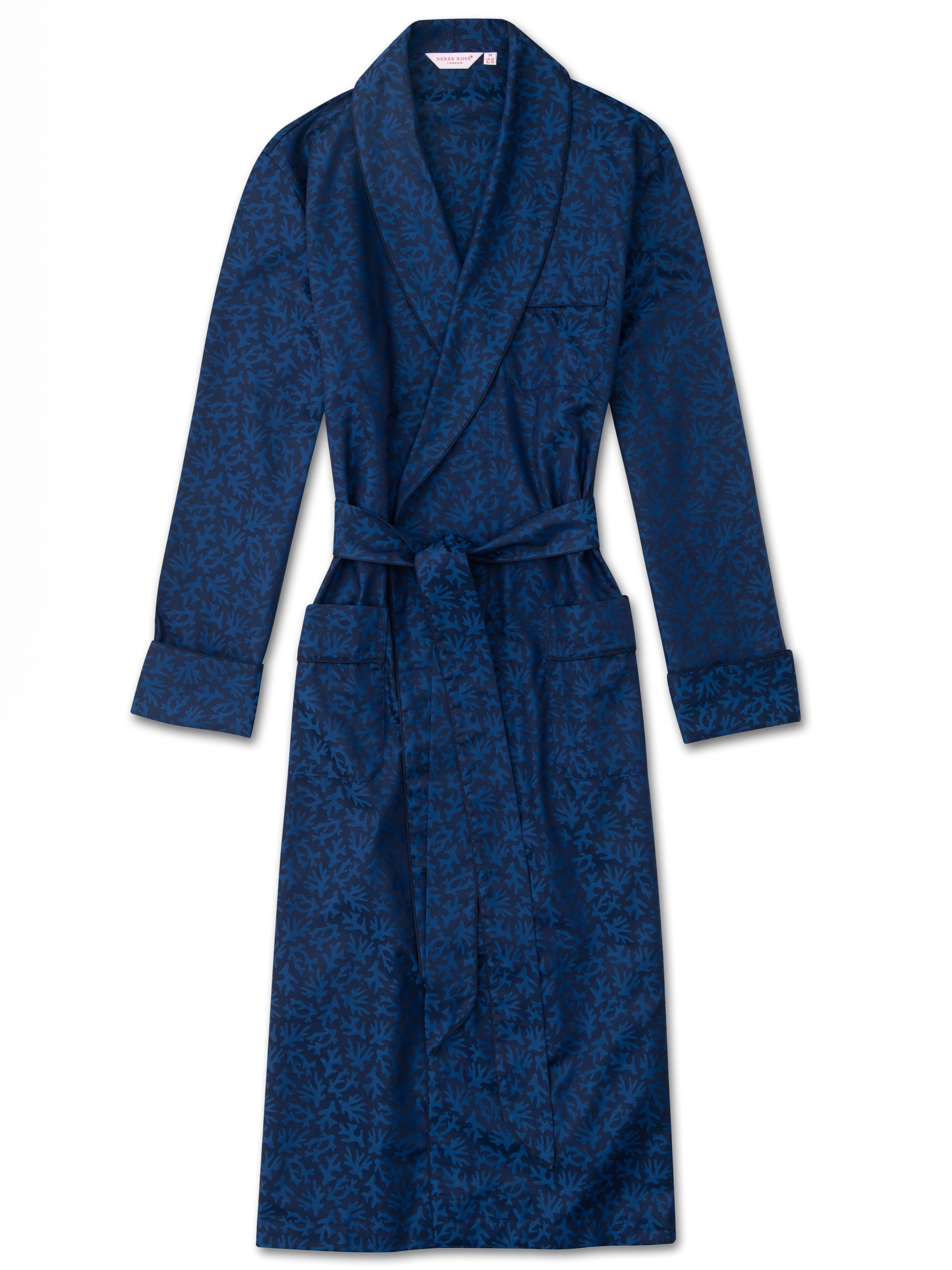 Men's Piped Dressing Gown Paris 16 Cotton Jacquard Navy