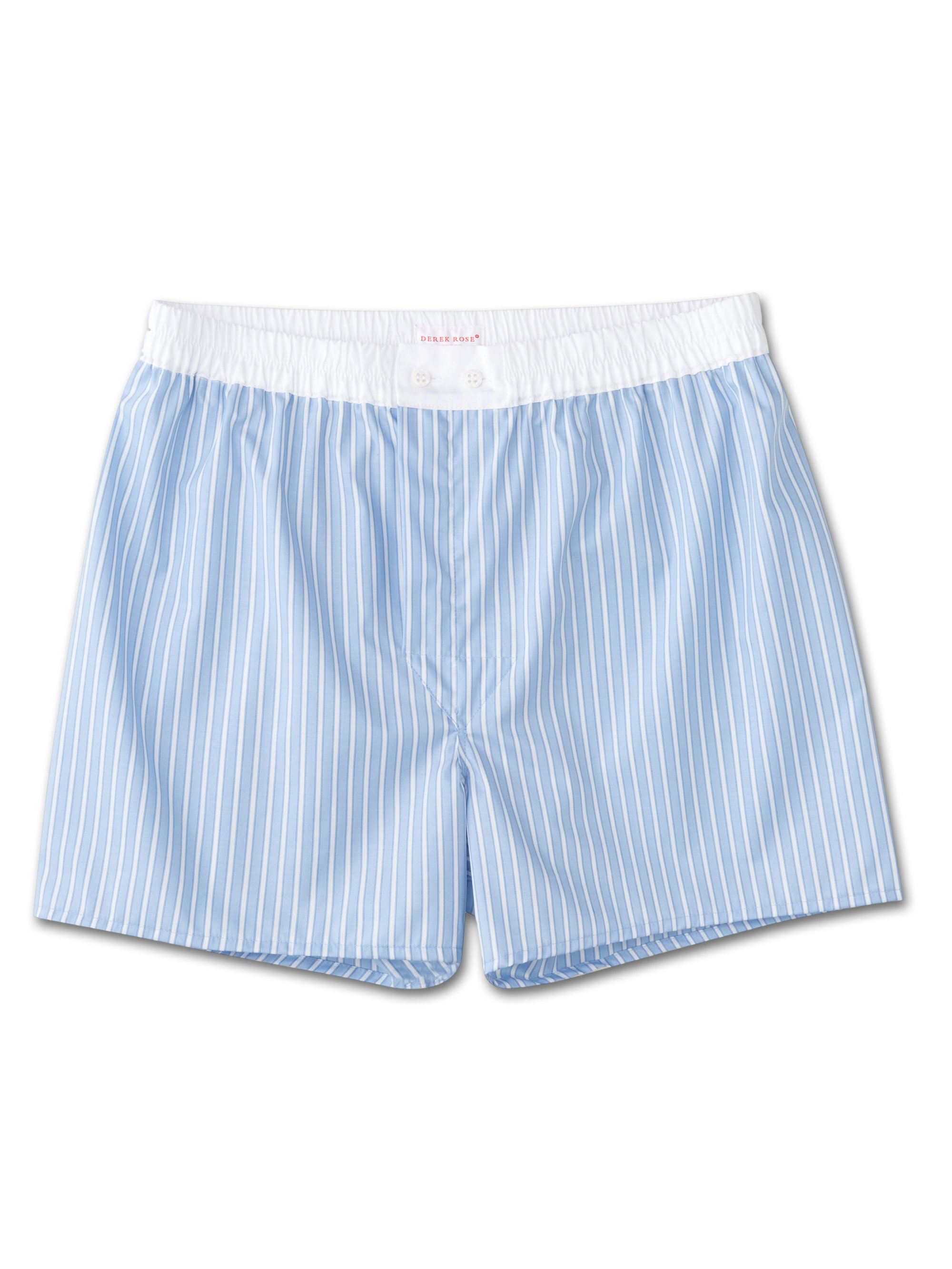 Men's Classic Fit Boxer Shorts Jermyn Pure Cotton Stripe Blue White