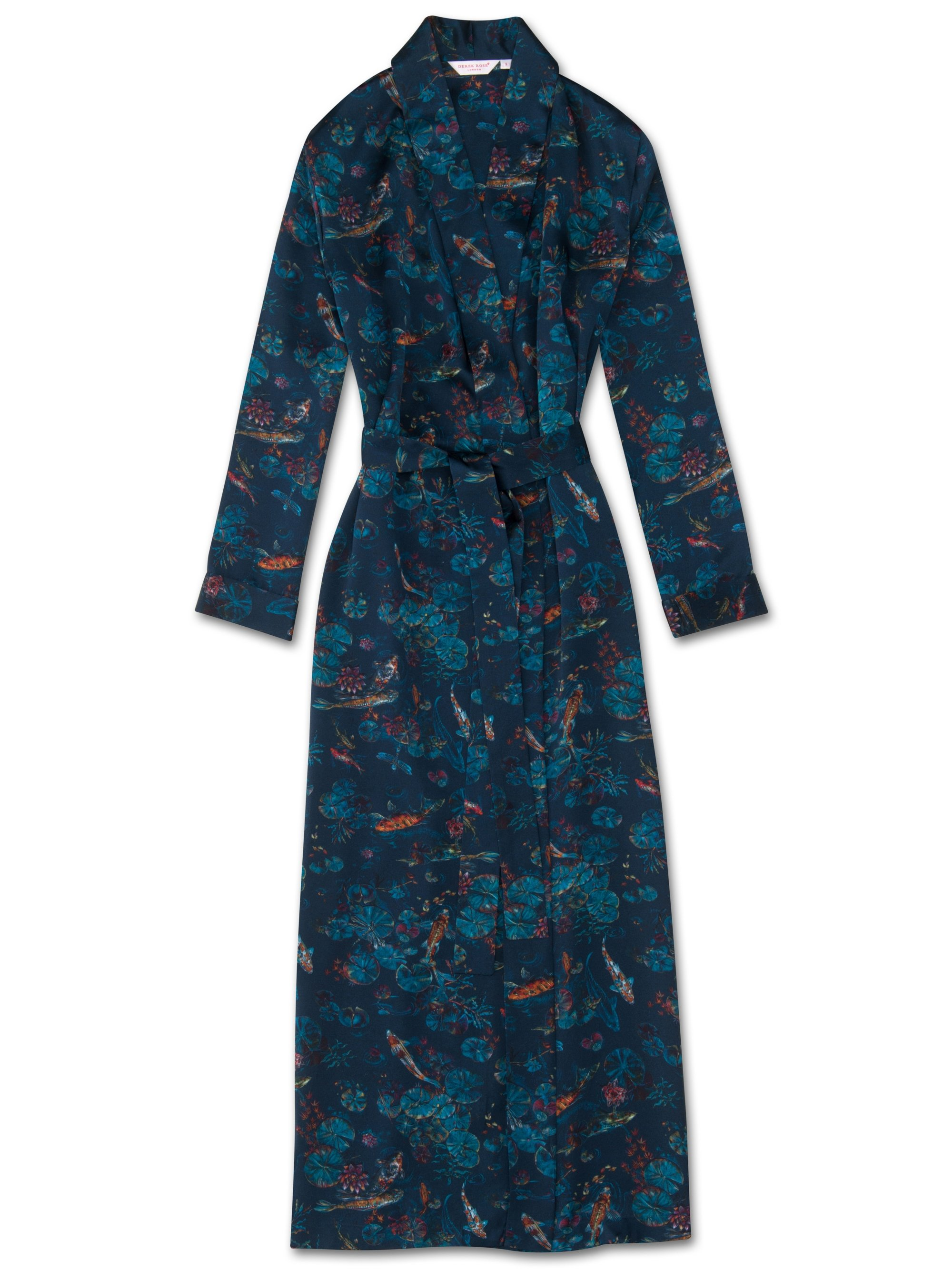 Women's Full Length Dressing Gown Brindisi 28 Pure Silk Satin Multi