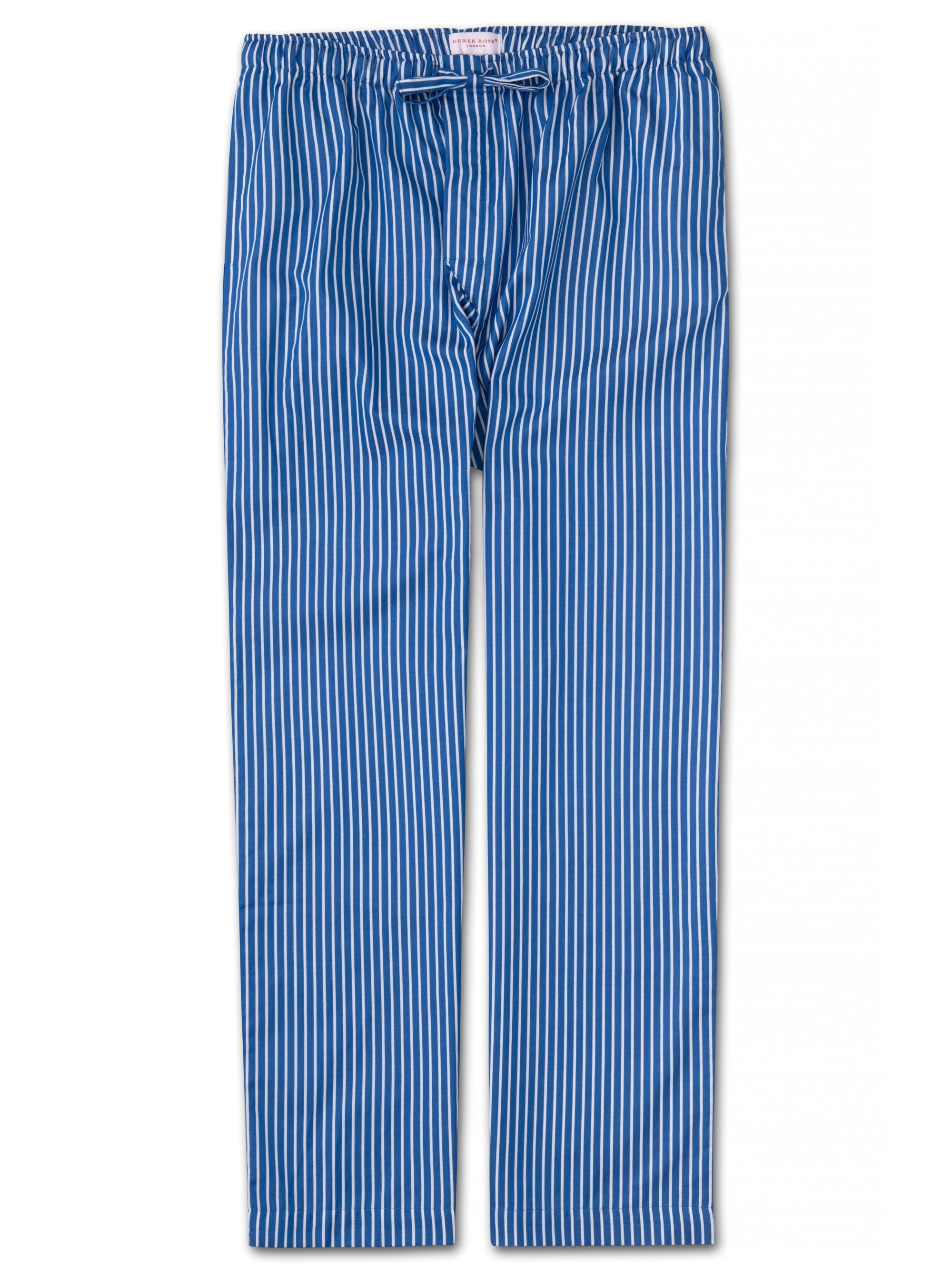 Men's Lounge Trousers Royal 215 Cotton Satin Stripe Blue