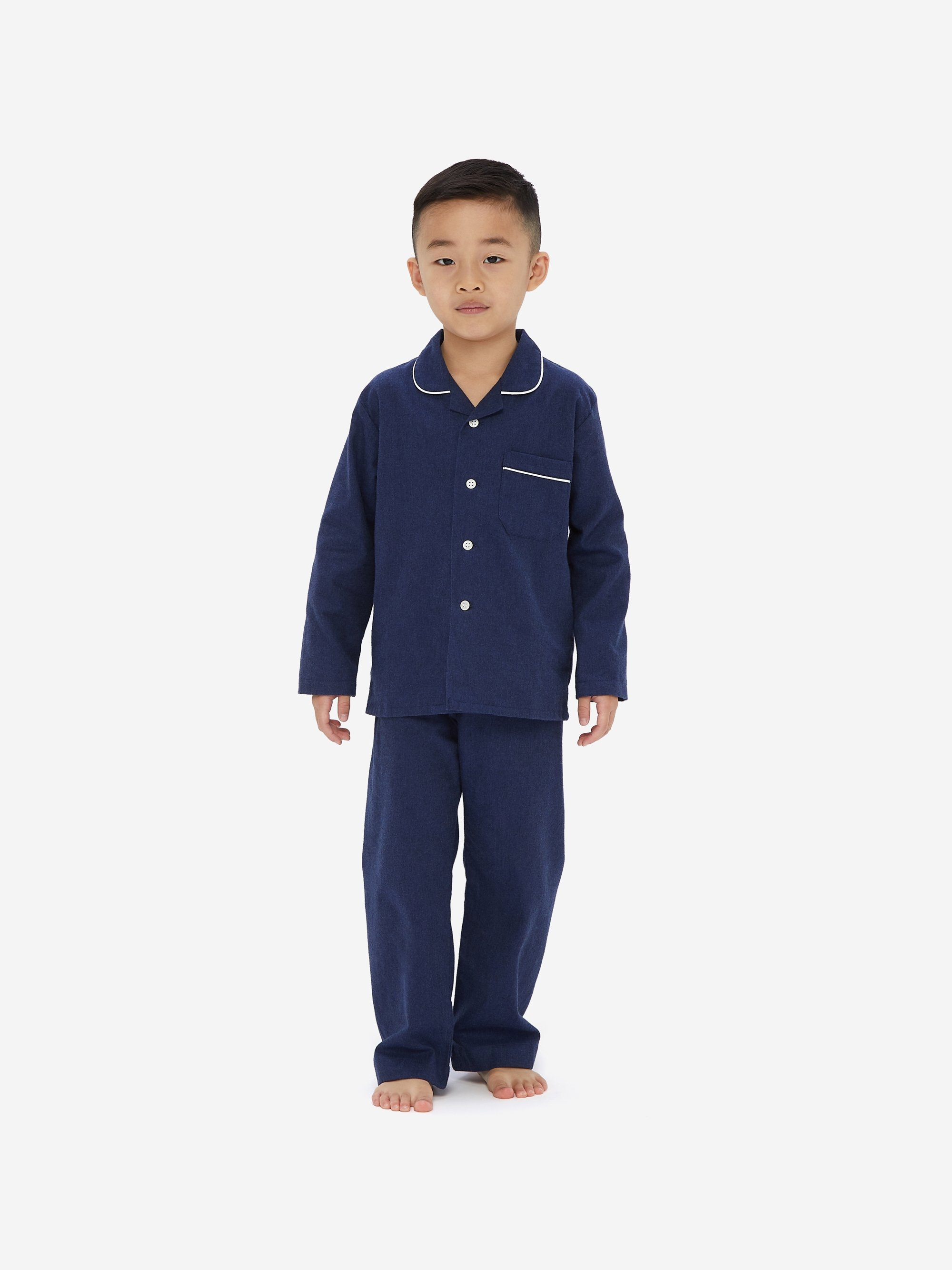 Kids' Pyjamas Balmoral 3 Brushed Cotton Navy