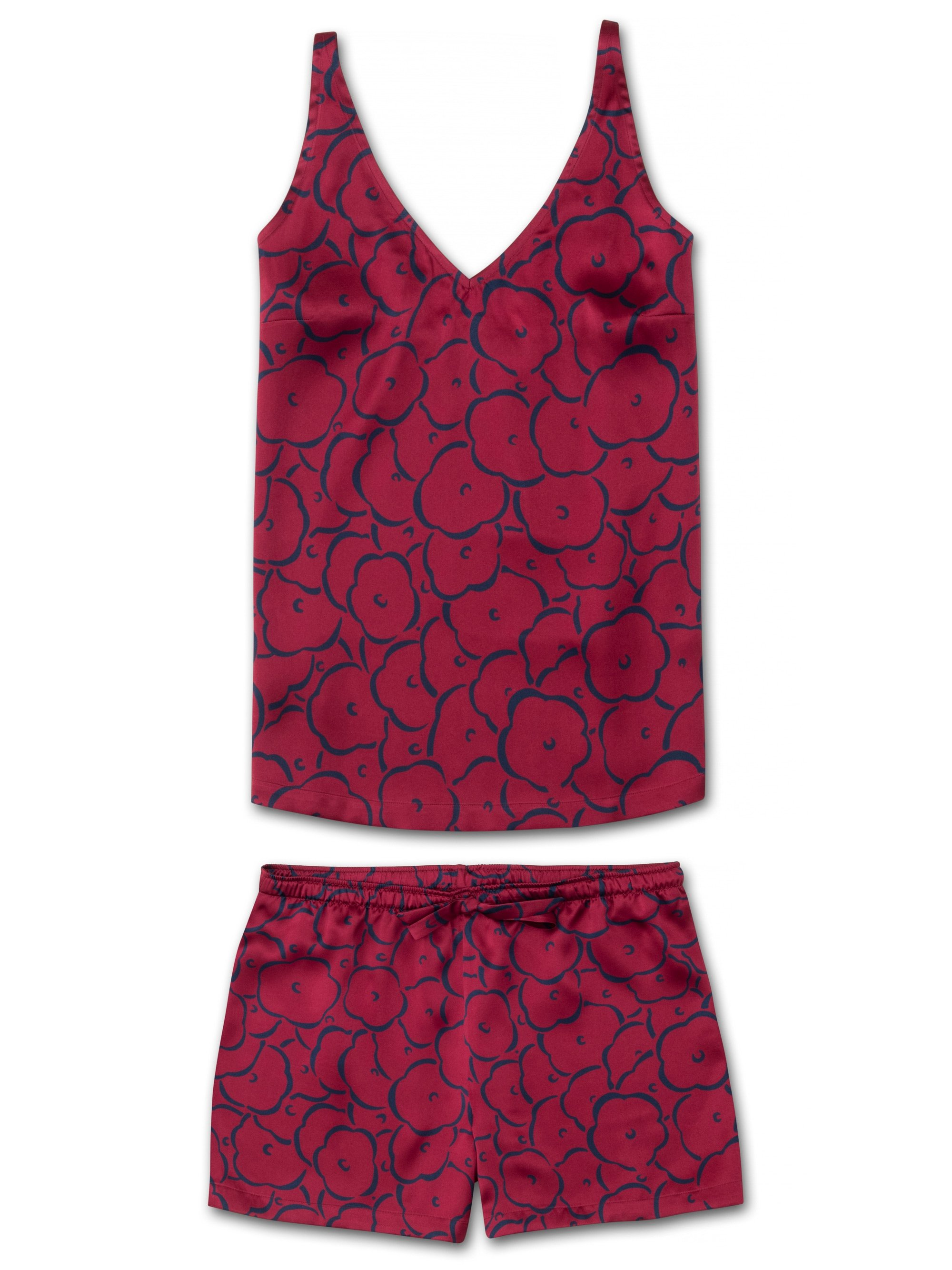 Women's Cami Short Pyjama Set Brindisi 53 Pure Silk Crimson