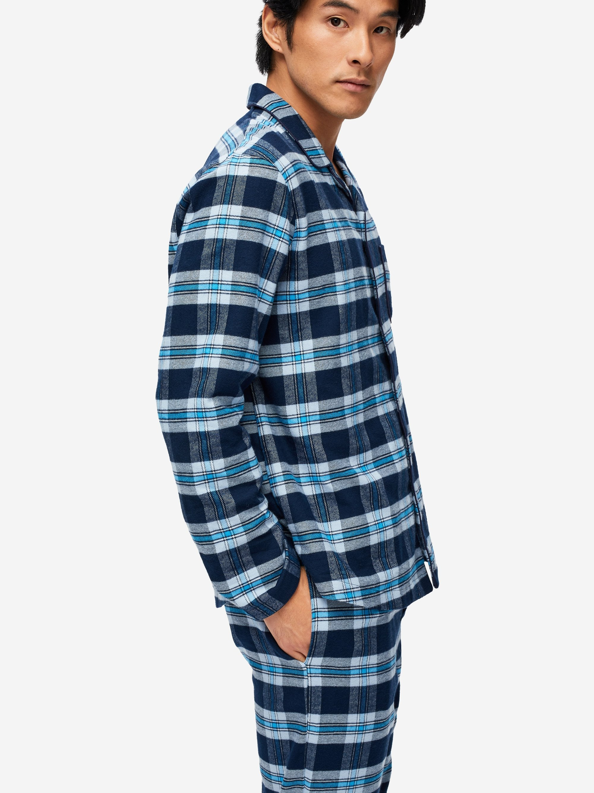 Men's Modern Fit Pyjamas Kelburn 14 Brushed Cotton Check Navy