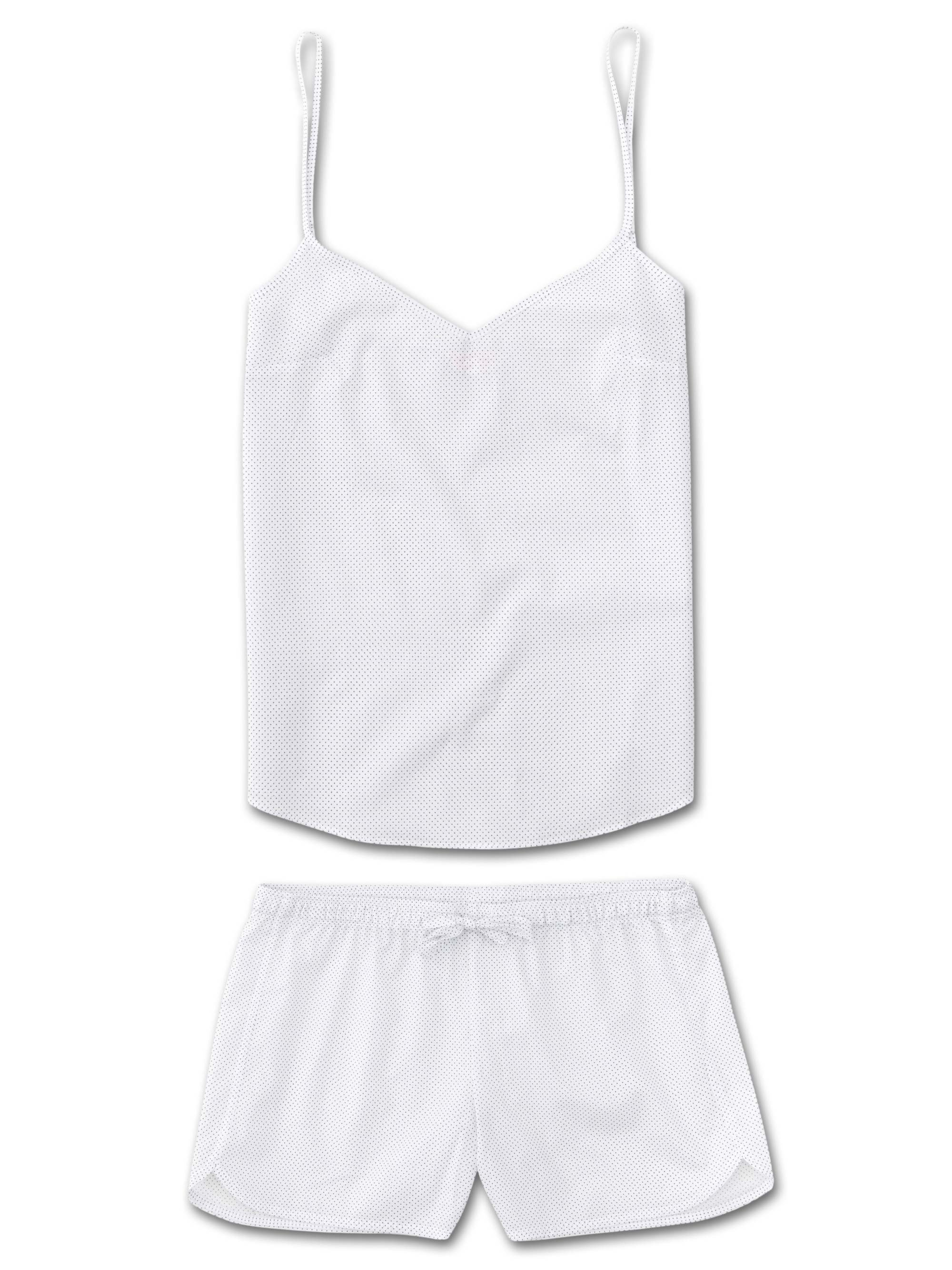 Women's Cami Short Pyjama Set Plaza 21 Cotton Batiste White
