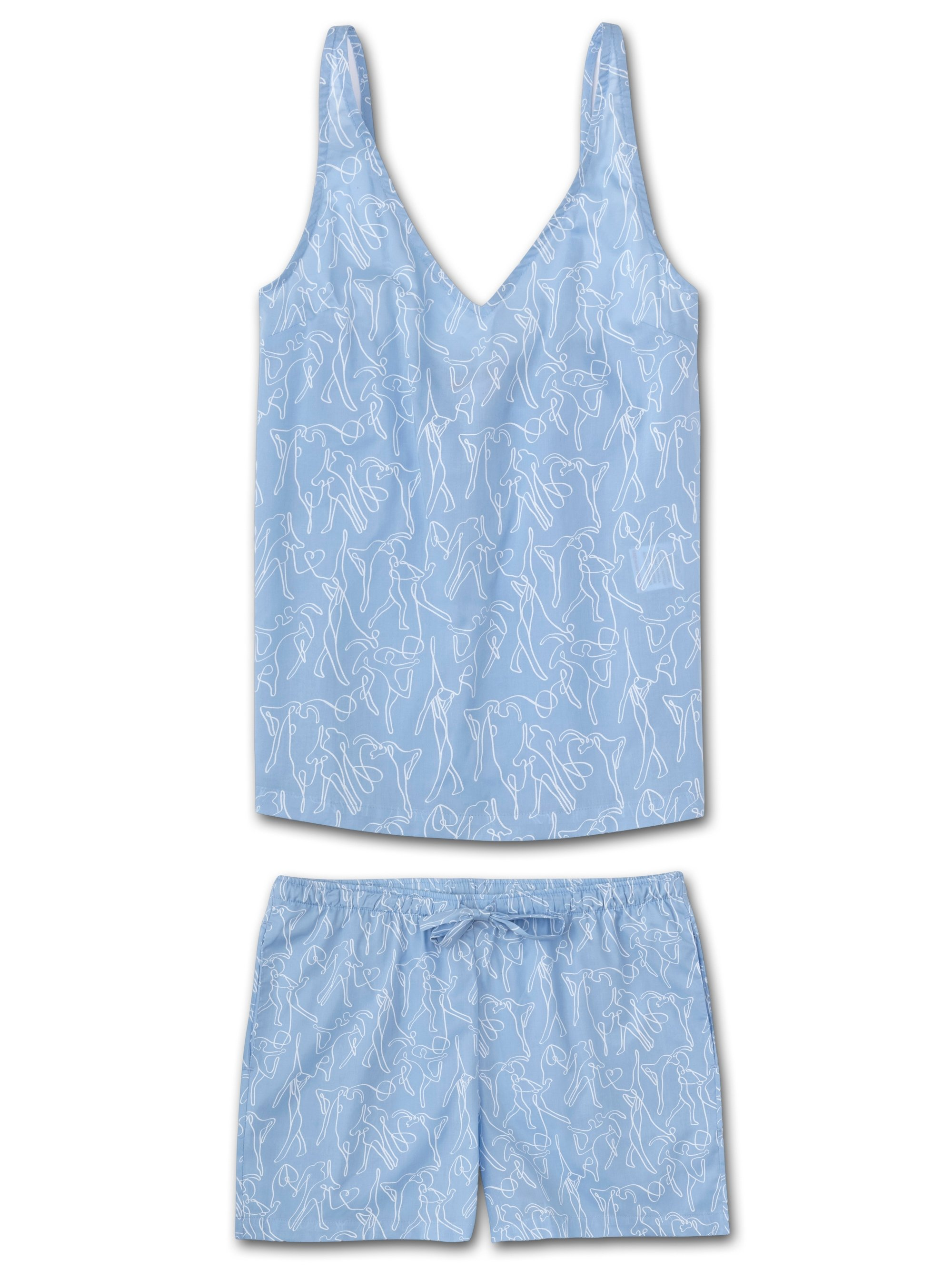 Women's Cami Short Pyjama Set Nelson 76 Cotton Batiste Sky