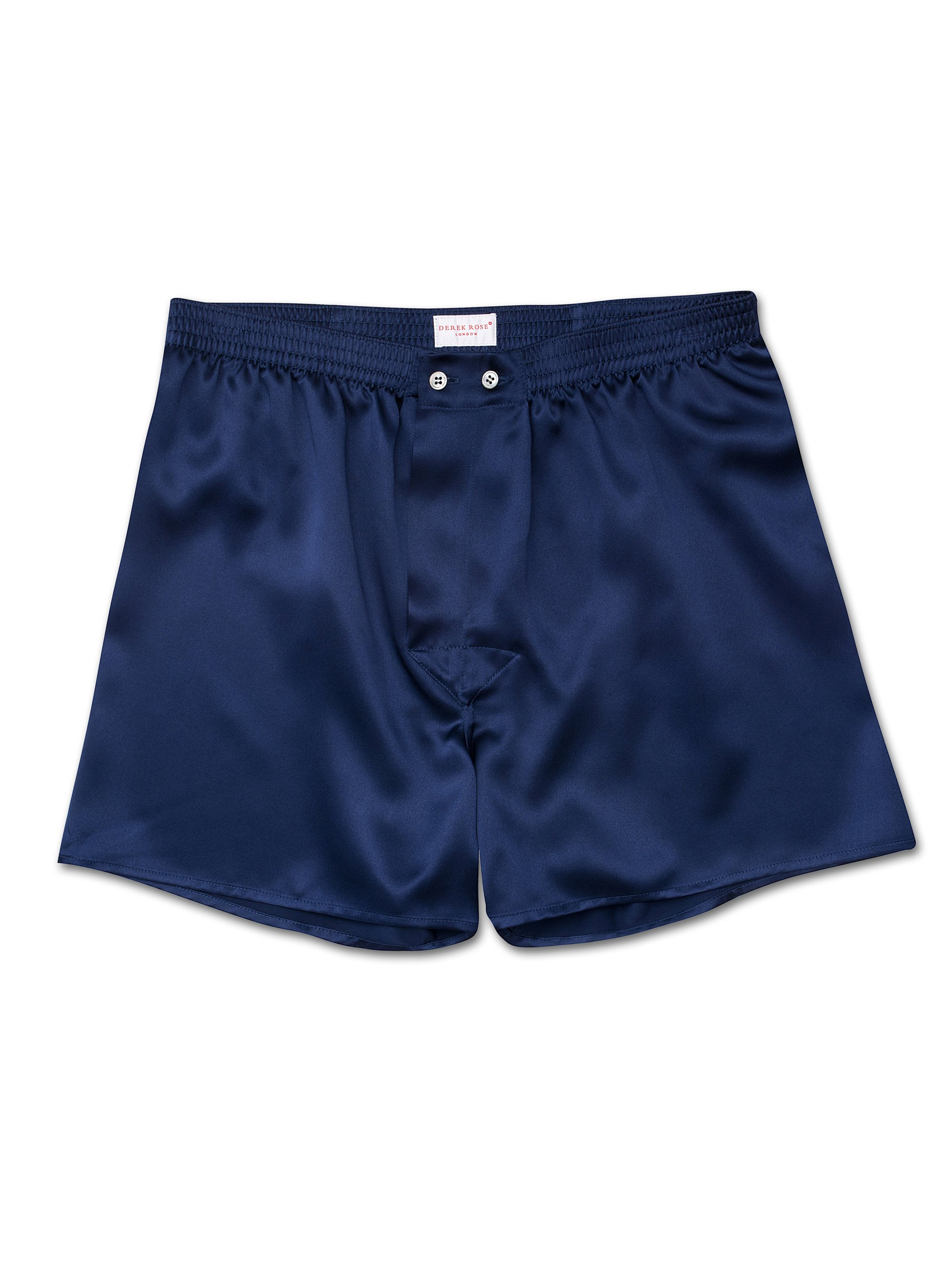 Men's Classic Fit Boxer Shorts Bailey Pure Silk Satin Navy