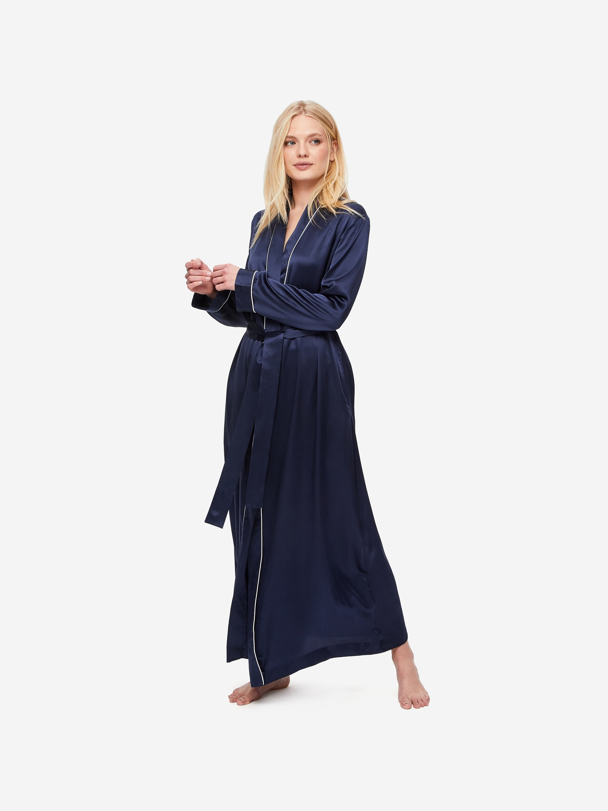 Women's Full Length Dressing Gown Bailey Pure Silk Satin Navy