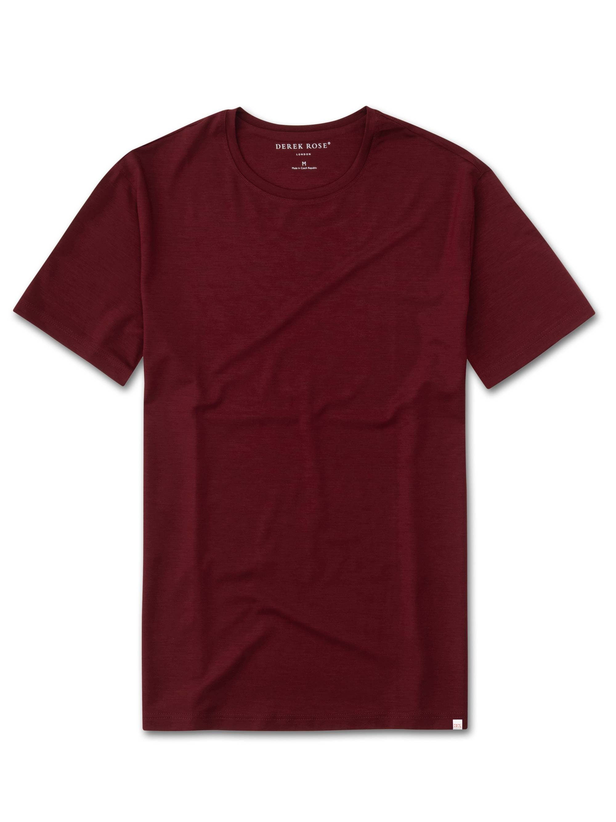 Men's Short Sleeve T-Shirt Basel 7 Micro Modal Stretch Burgundy