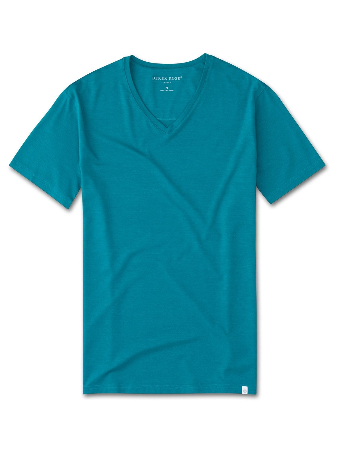 Men's Short Sleeve V-Neck T-Shirt Basel 4 Micro Modal Stretch Teal