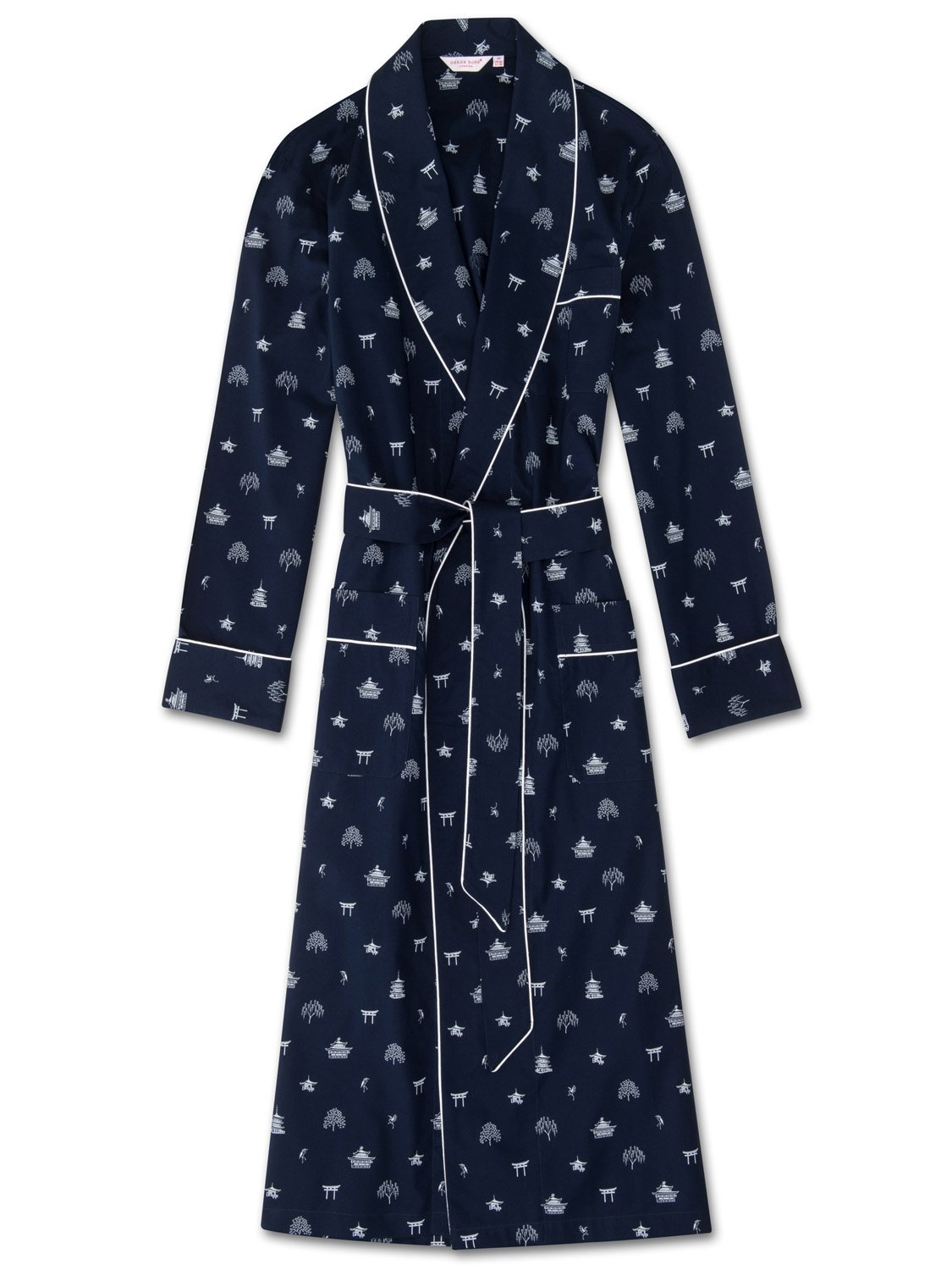 Men's Piped Dressing Gown Nelson 65 Cotton Batiste Navy