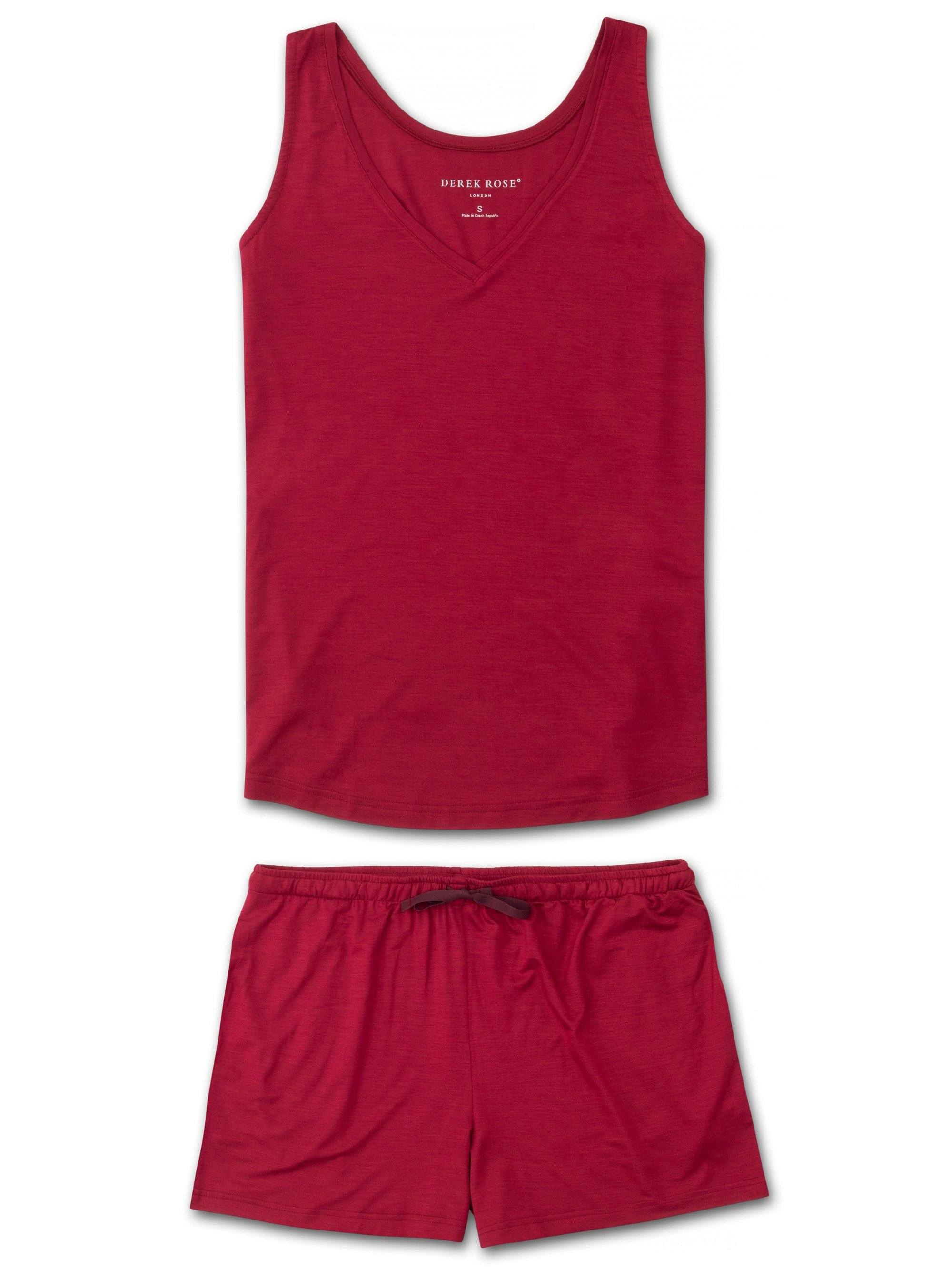 Women's Jersey Vest Short Pyjama Set Lara Micro Modal Stretch Crimson