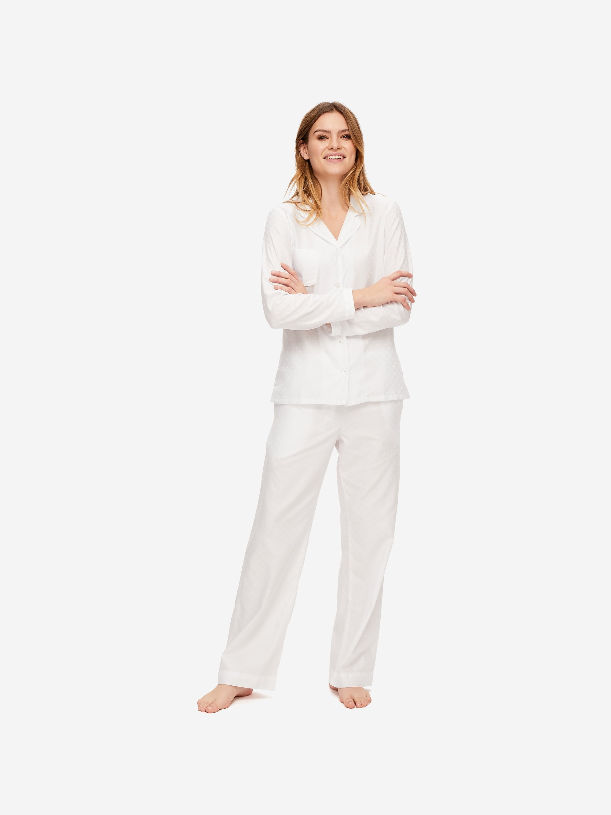 Women's Pyjamas Kate 7 Cotton Jacquard White